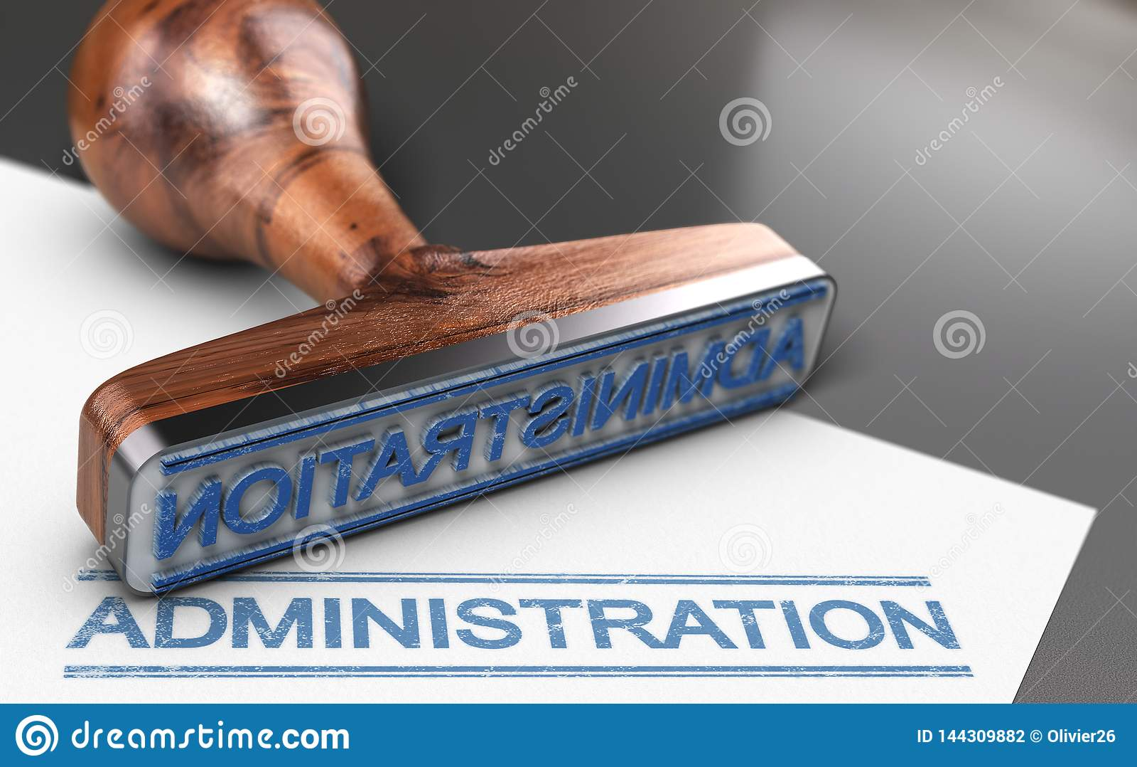 Sello de goma de la administración