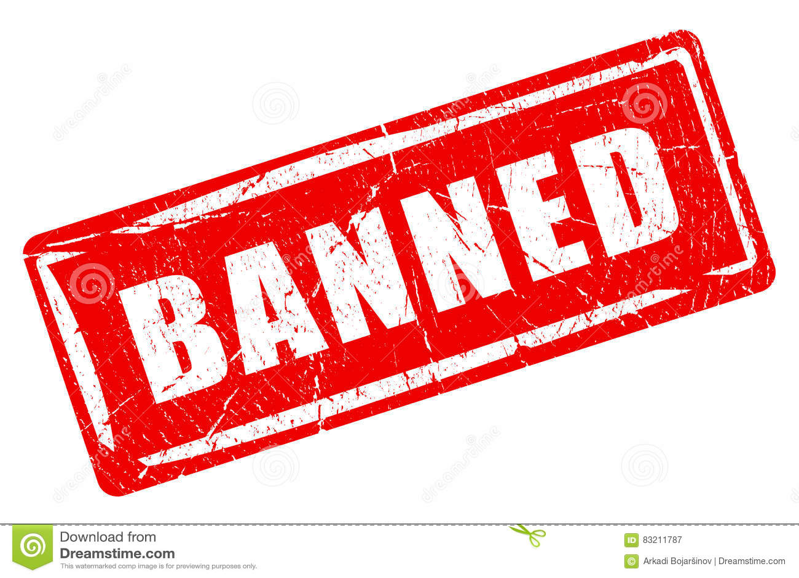 Sello de goma prohibido