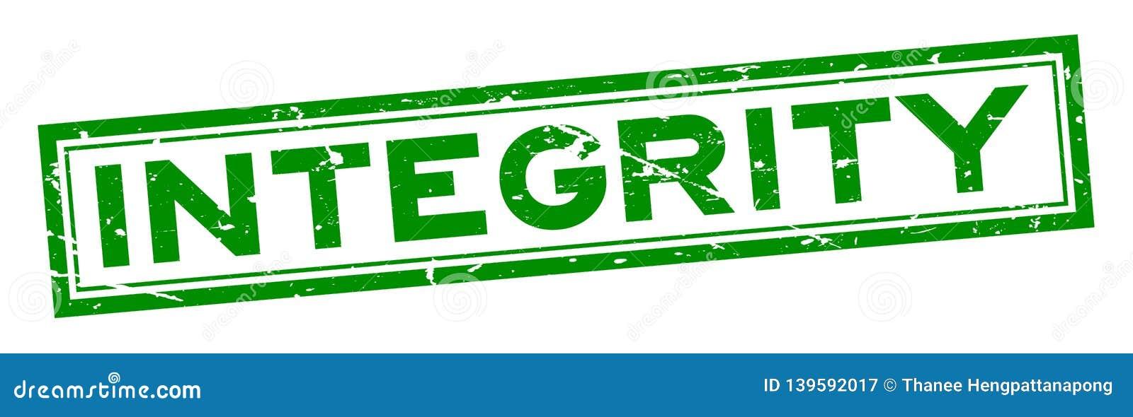 Sello de goma verde del sello del cuadrado de palabra de la integridad del Grunge en el fondo blanco