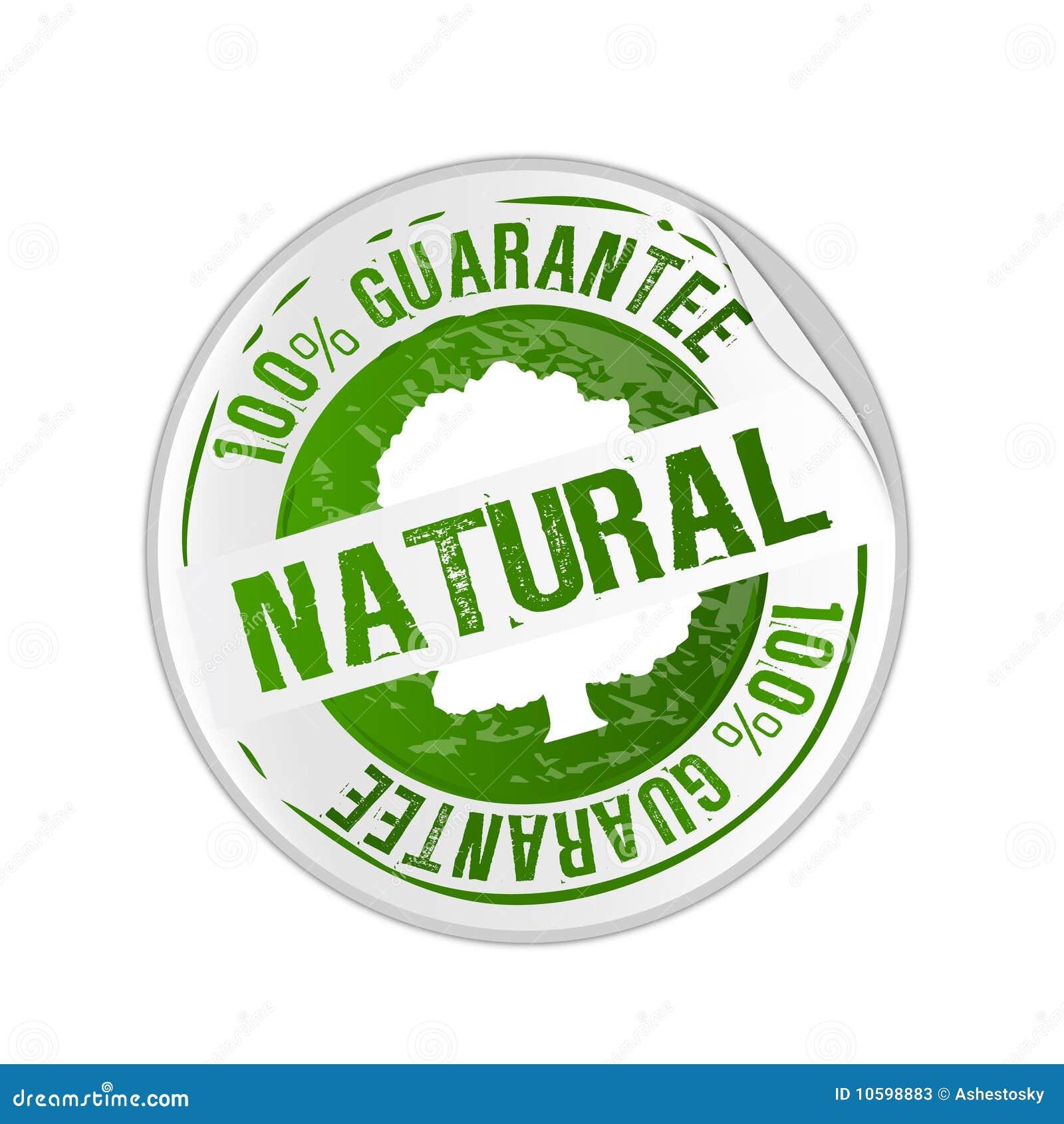 Sello de la garantía del producto natural