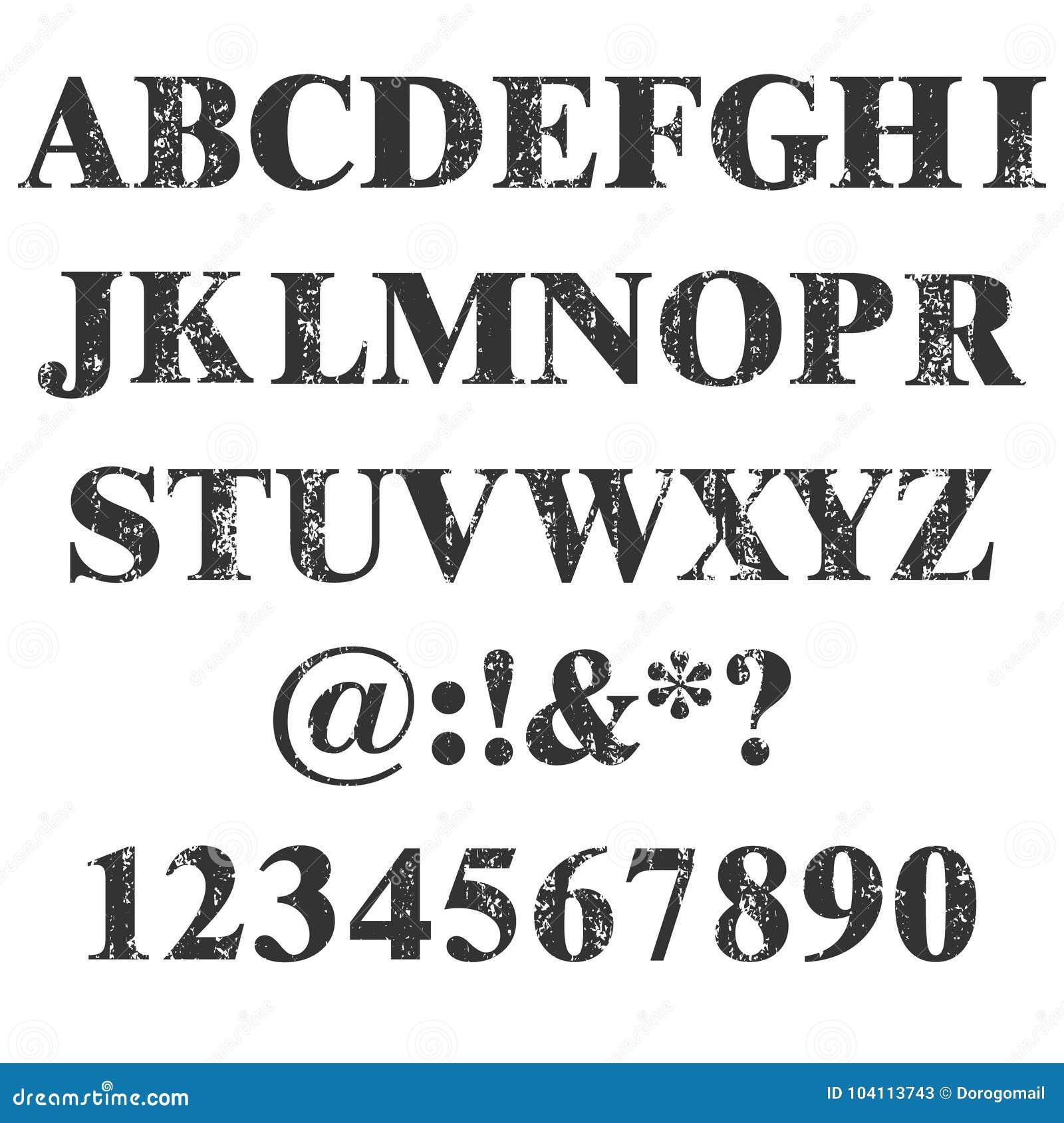 Sello del vector todas las letras y números Textura de Grunge Elementos del vintage Ilustración del vector Fuente sucia de la let