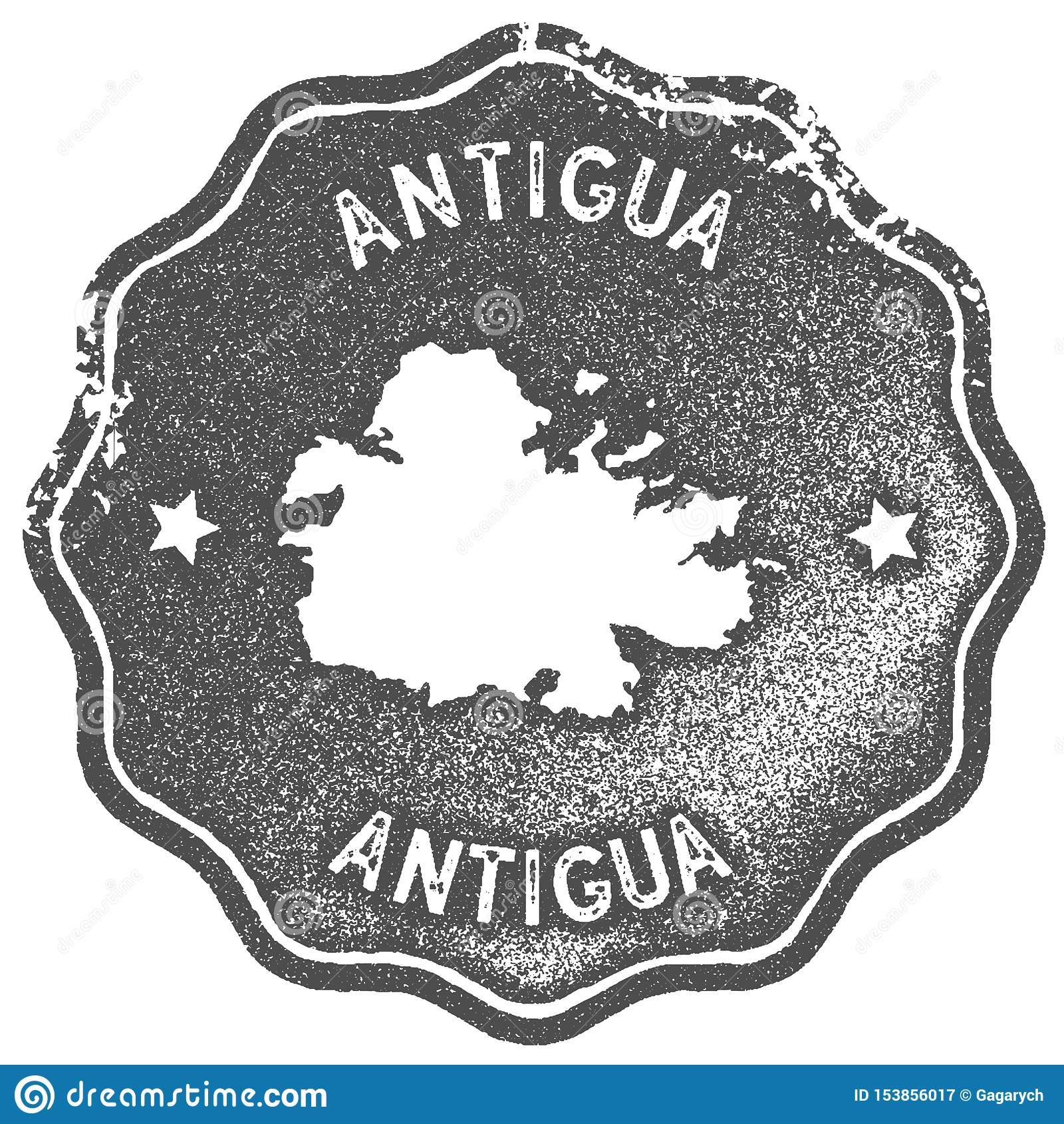 Sello del vintage del mapa de Antigua