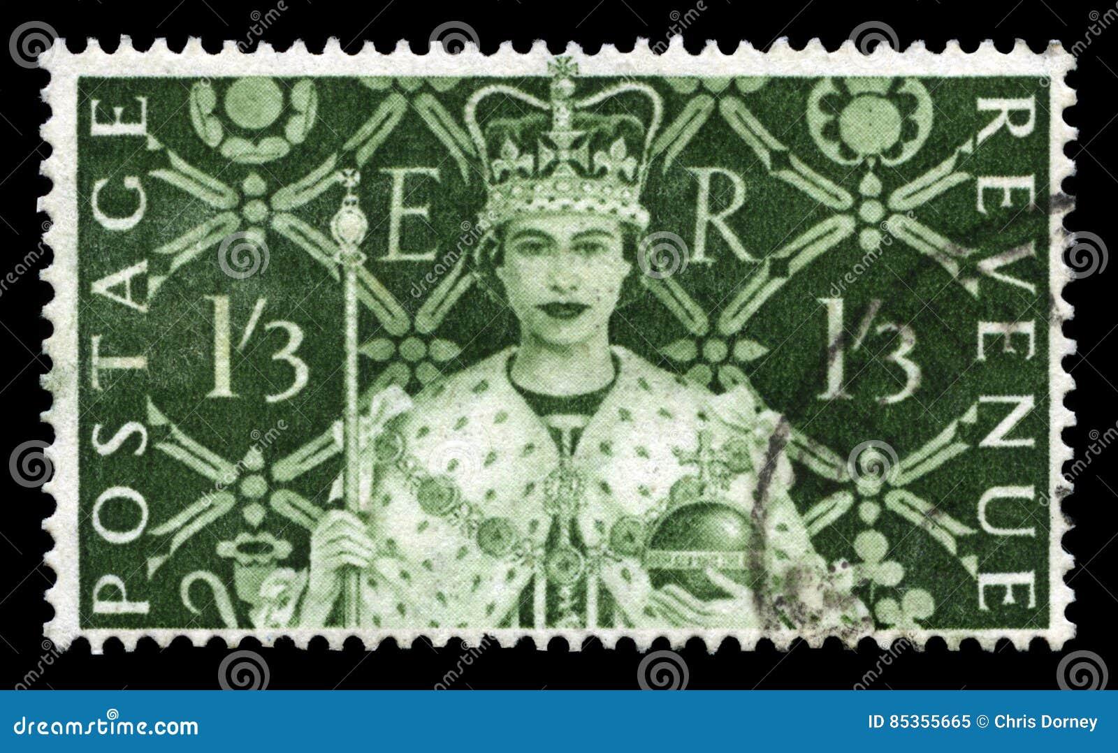 Sello del vintage que celebra la coronación del ` s de la reina