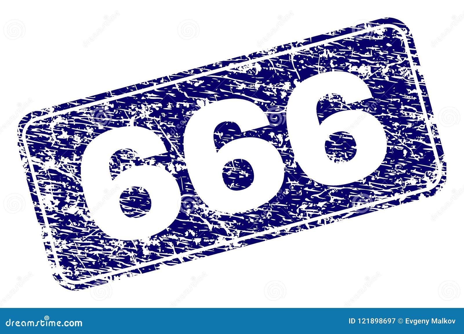 Sello redondeado enmarcado del rectángulo del Grunge 666