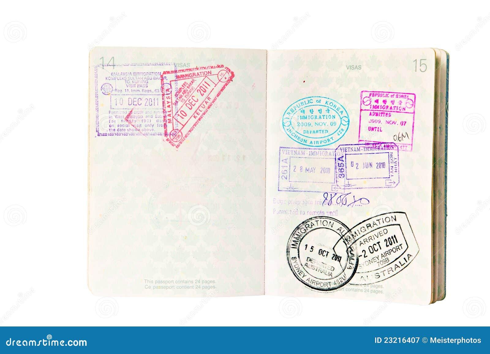 Sellos De La Inmigración En Pasaporte Canadiense Imagen de archivo ...