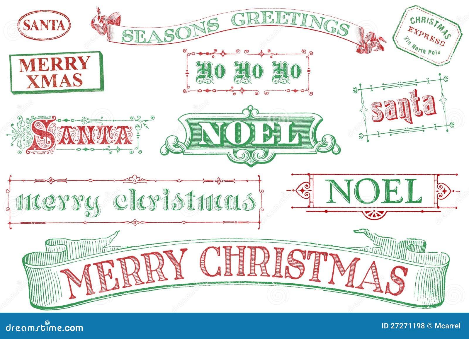 Sellos de la Navidad de la vendimia
