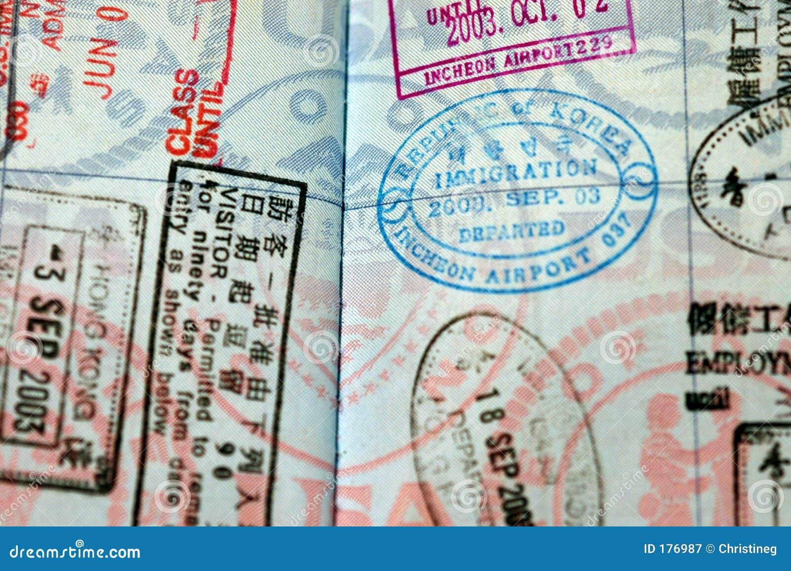 Sellos de visa del pasaporte