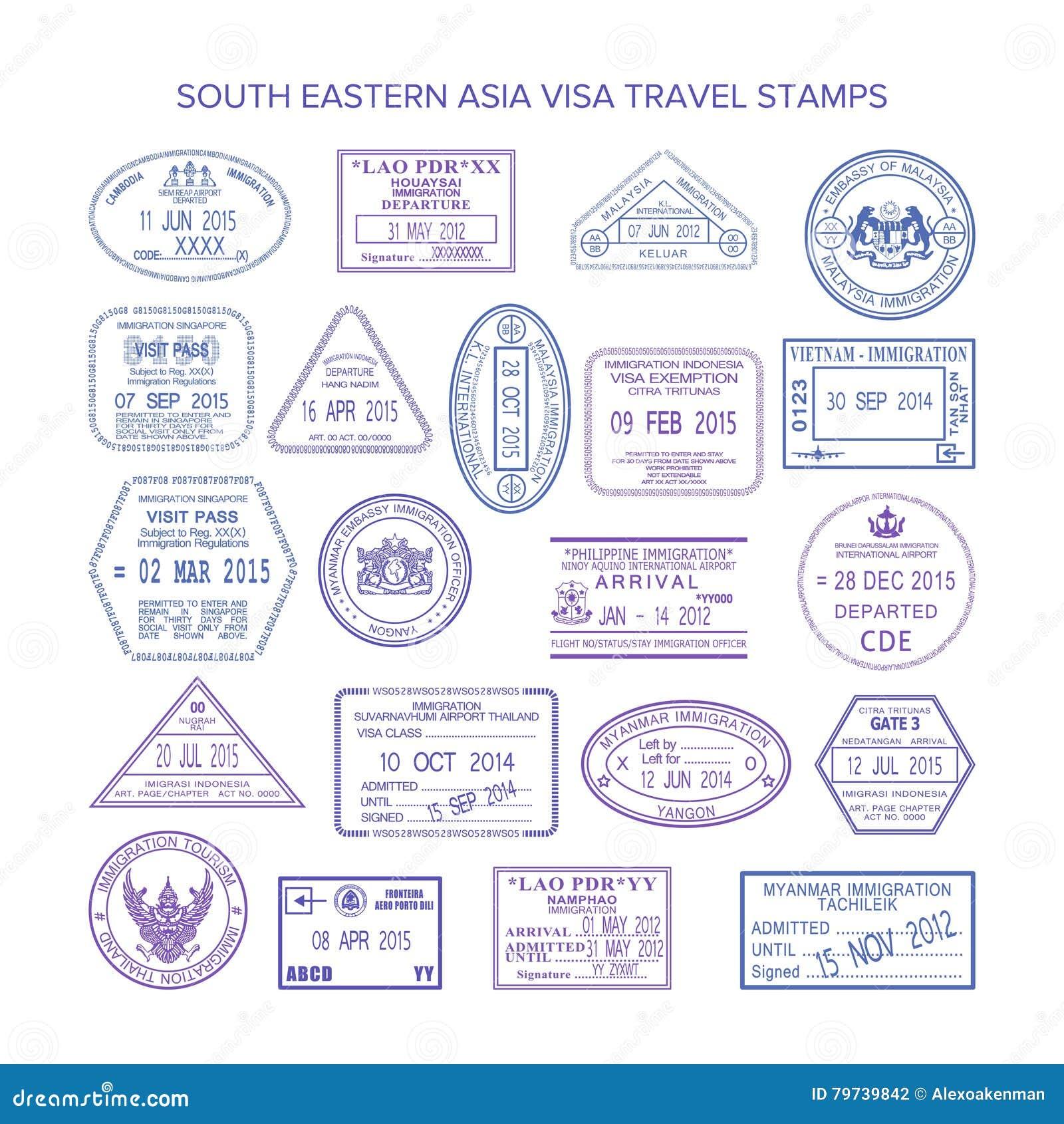Sellos de visa del sudeste del viaje de Asia del vector fijados