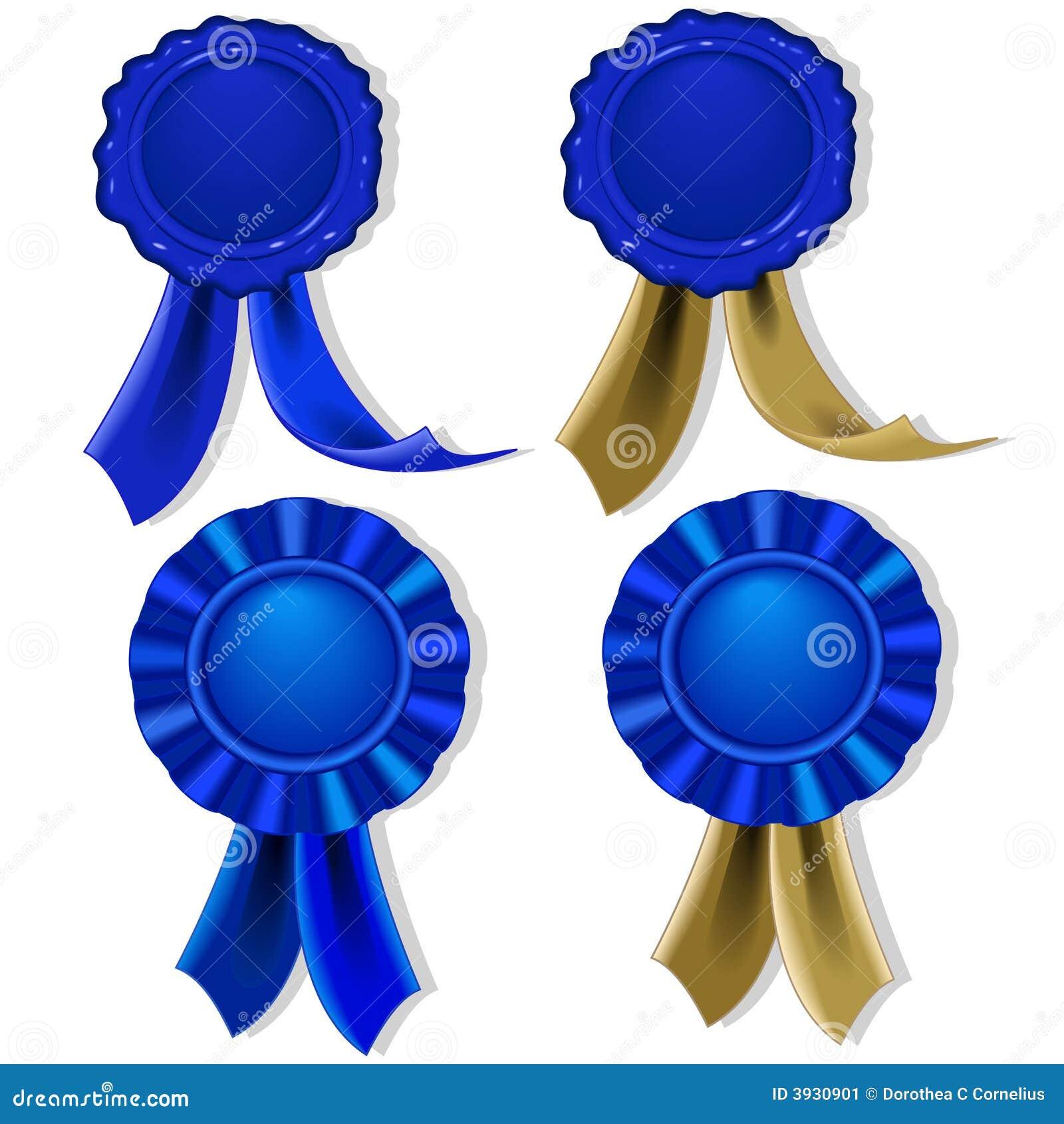 Sellos Y Medallas En Blanco En Azul Stock de ilustración ...