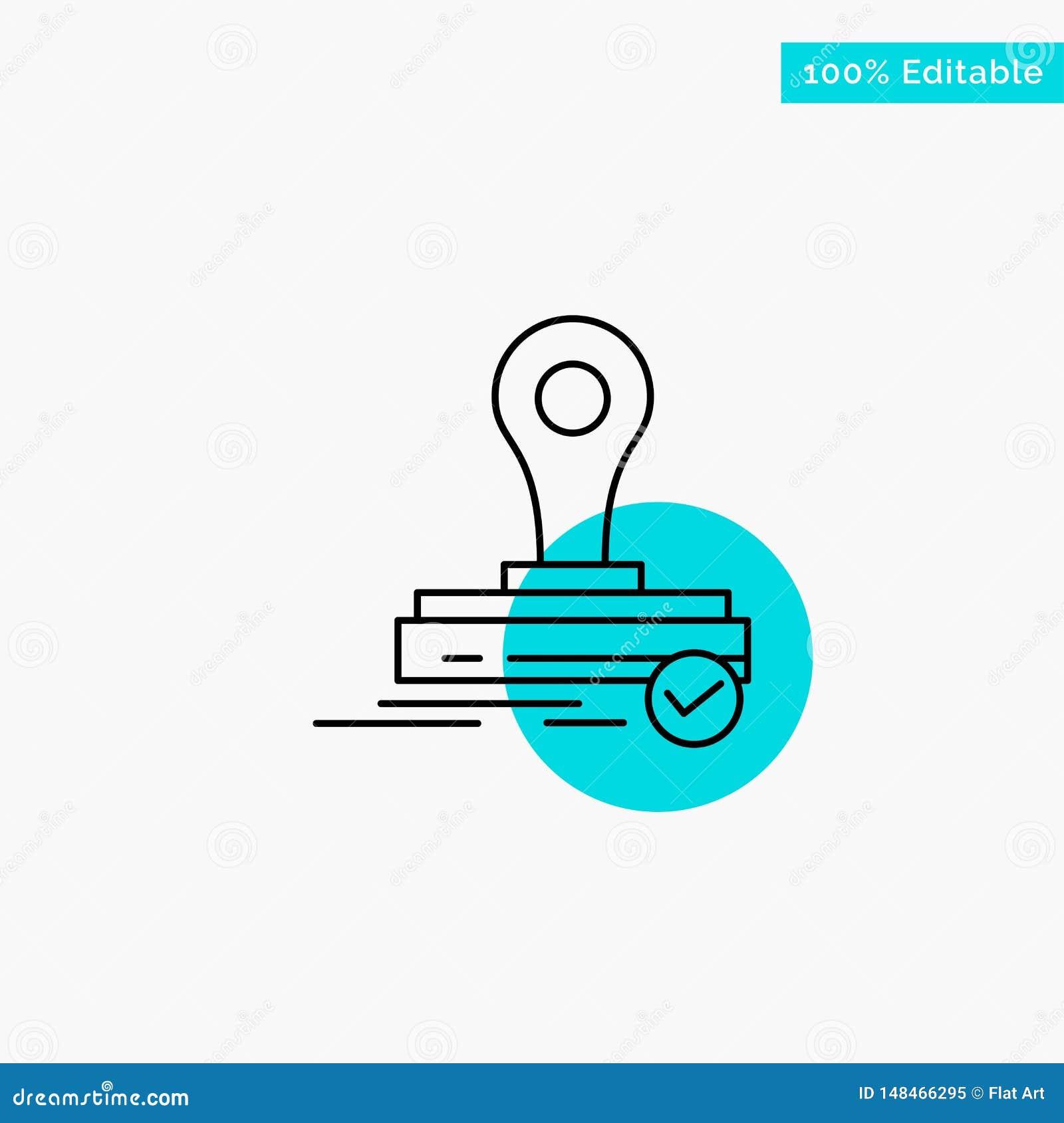 Selo, clone, imprensa, ícone do vetor do ponto do círculo do destaque de turquesa do logotipo