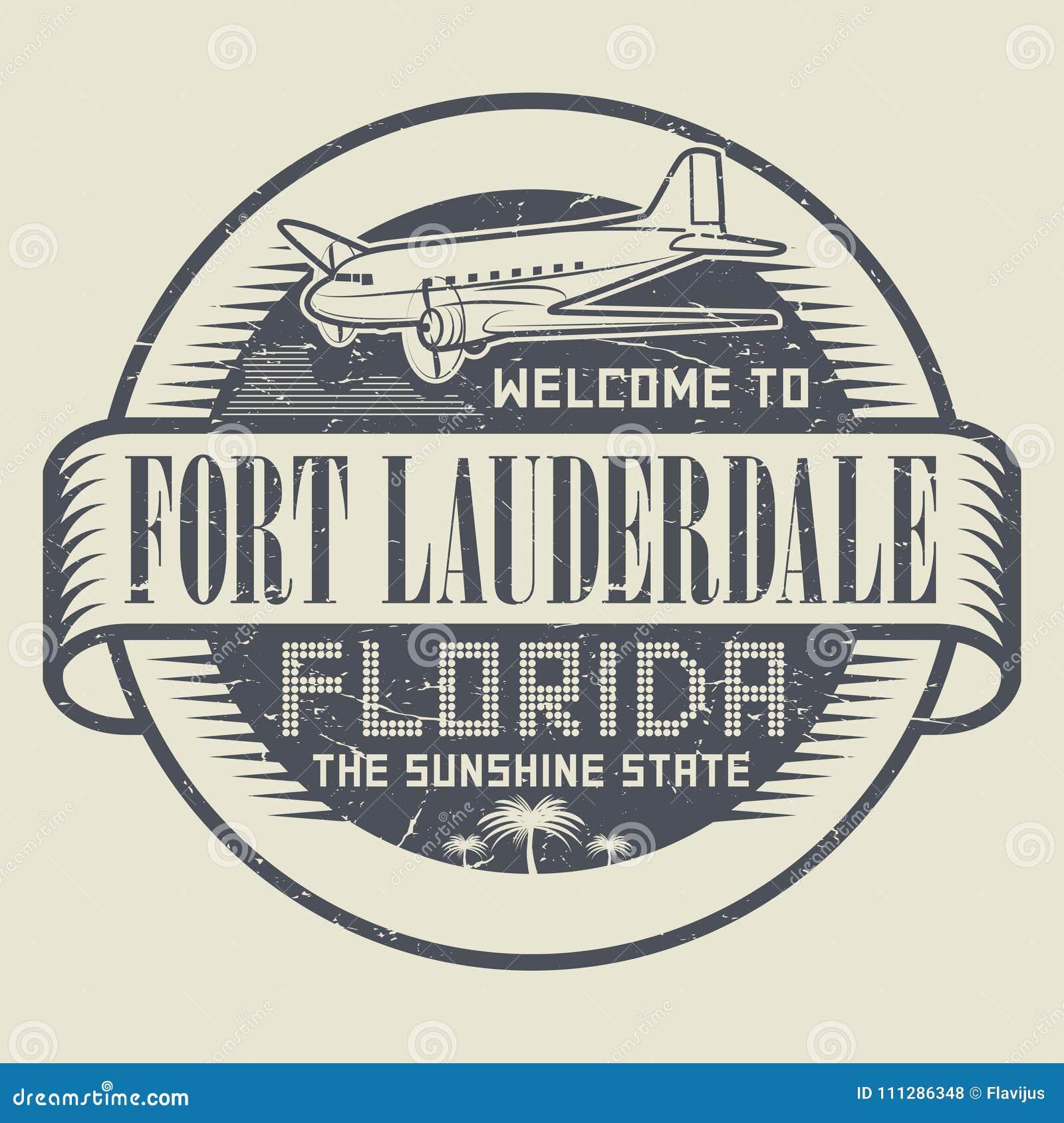 Selo com boa vinda ao Fort Lauderdale, Florida do texto