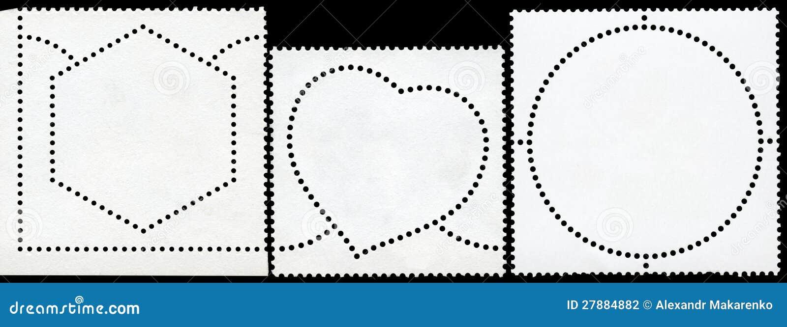 Selo de porte postal em branco quadro pela beira preta.