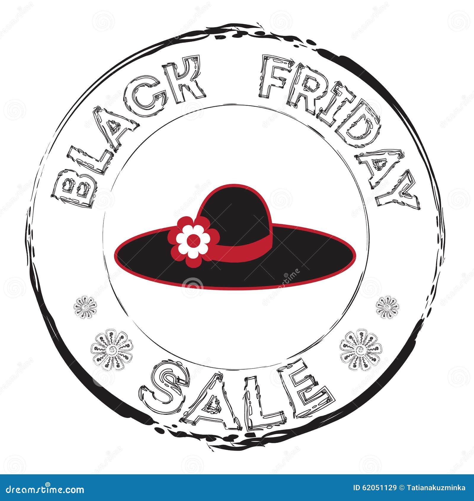 8a60e49fb226b Carimbo de borracha do Grunge com chapéu negro da mulher e a venda de Black  Friday do texto Ilustração do desenho da mão Ícones do disconto da venda ...