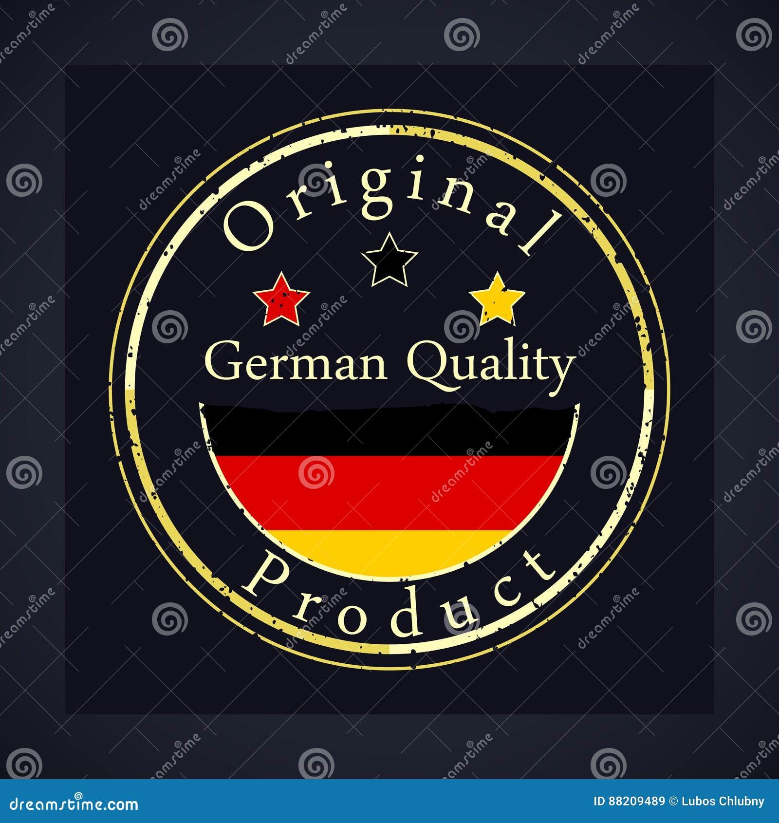 Selo do grunge do ouro com a qualidade alemão do texto e o produto original