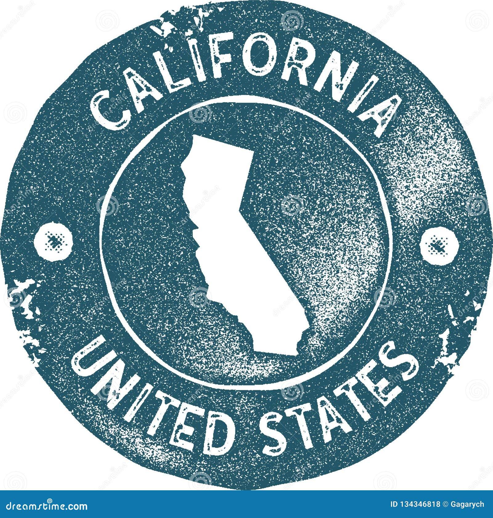 Selo do vintage do mapa de Califórnia