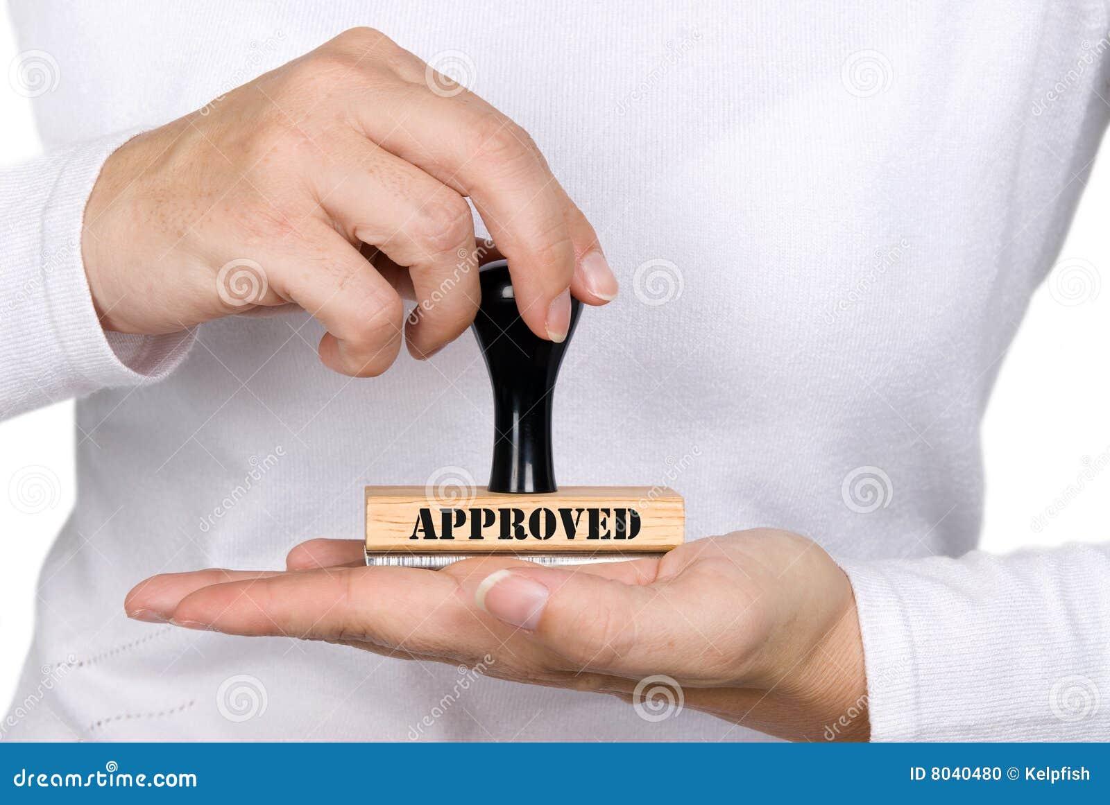Selo e mulher da aprovaçã0