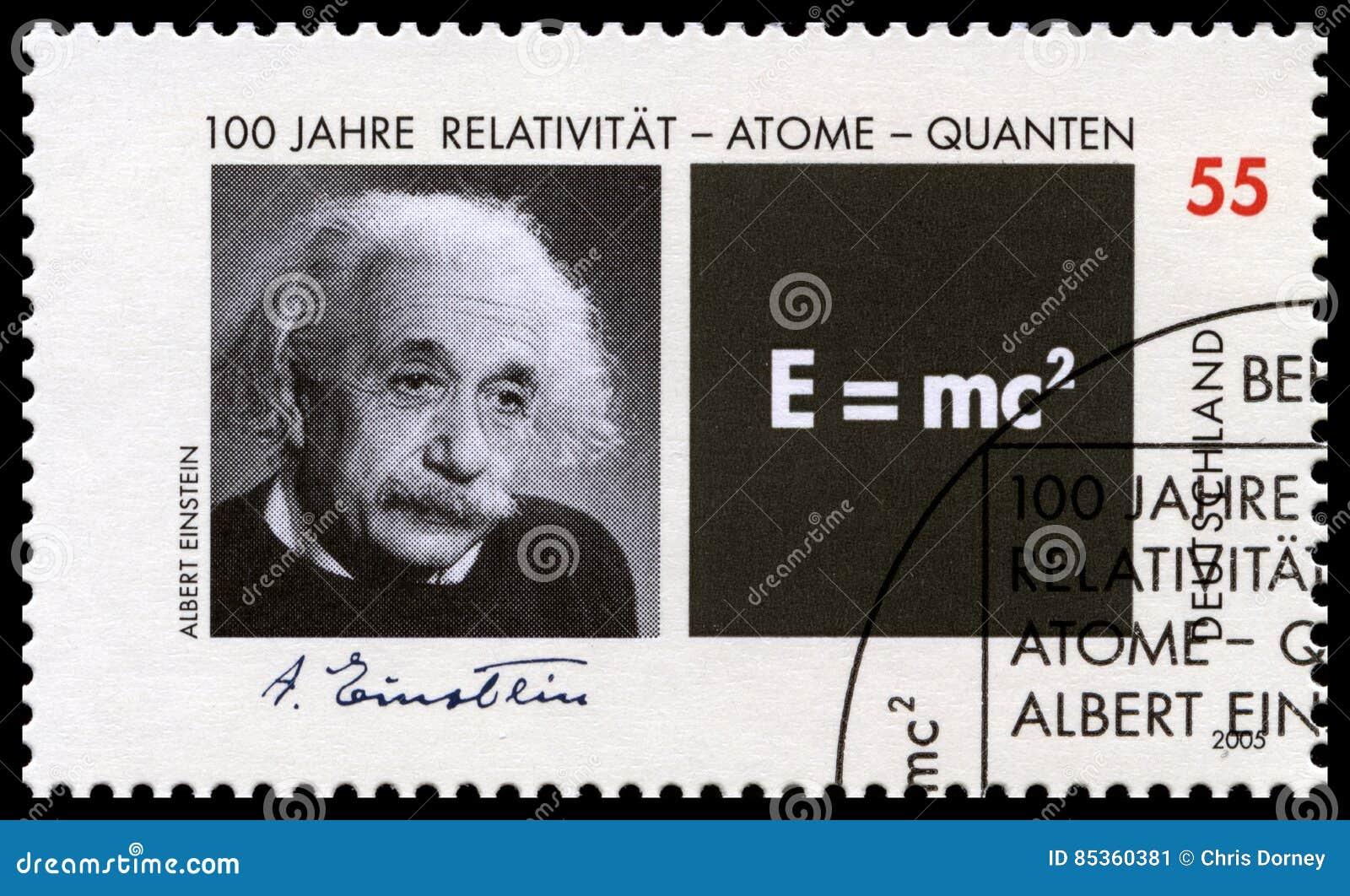 Selo postal alemão com o retrato de Albert Einstein