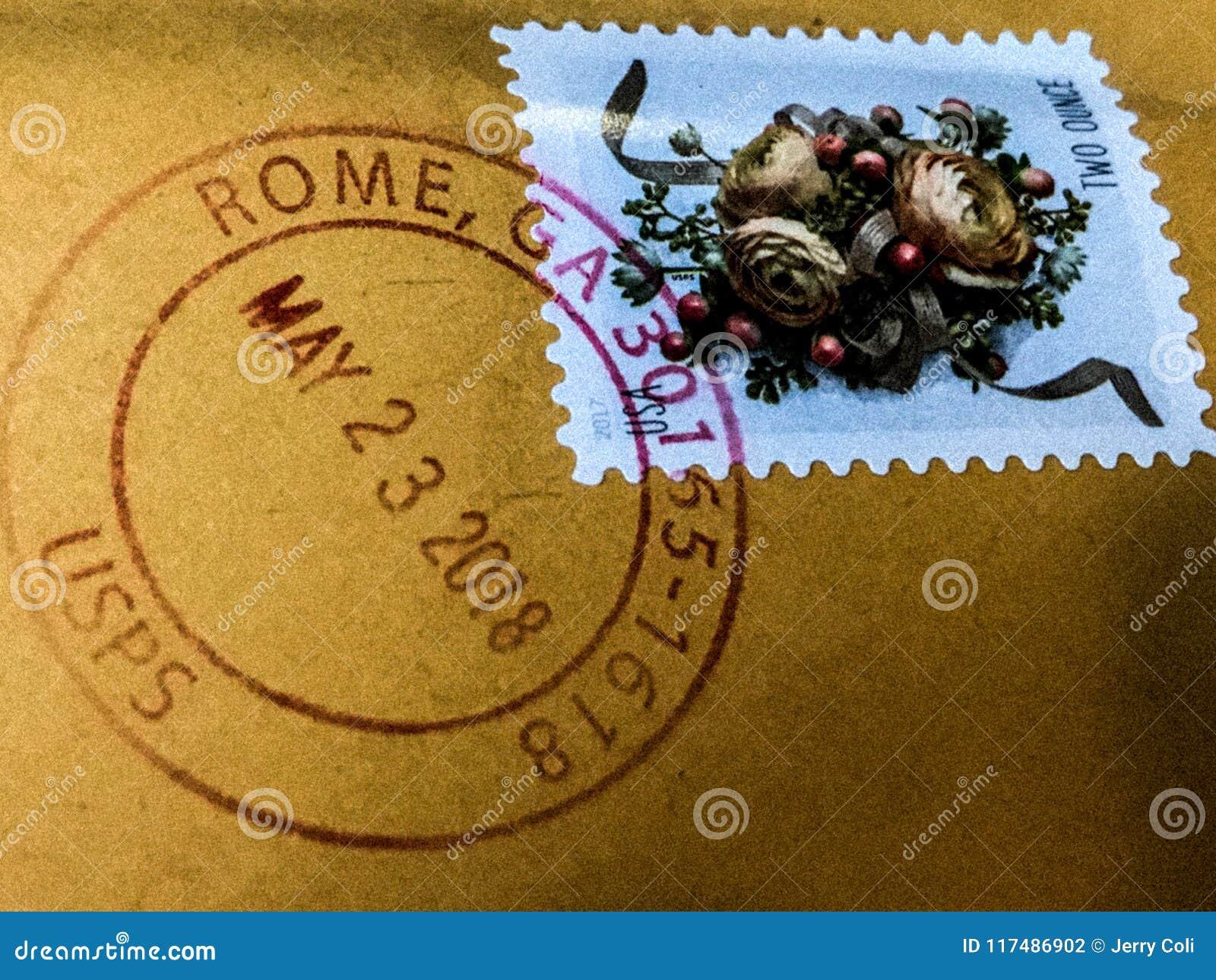 Selo postal cancelado de Roma, Geórgia