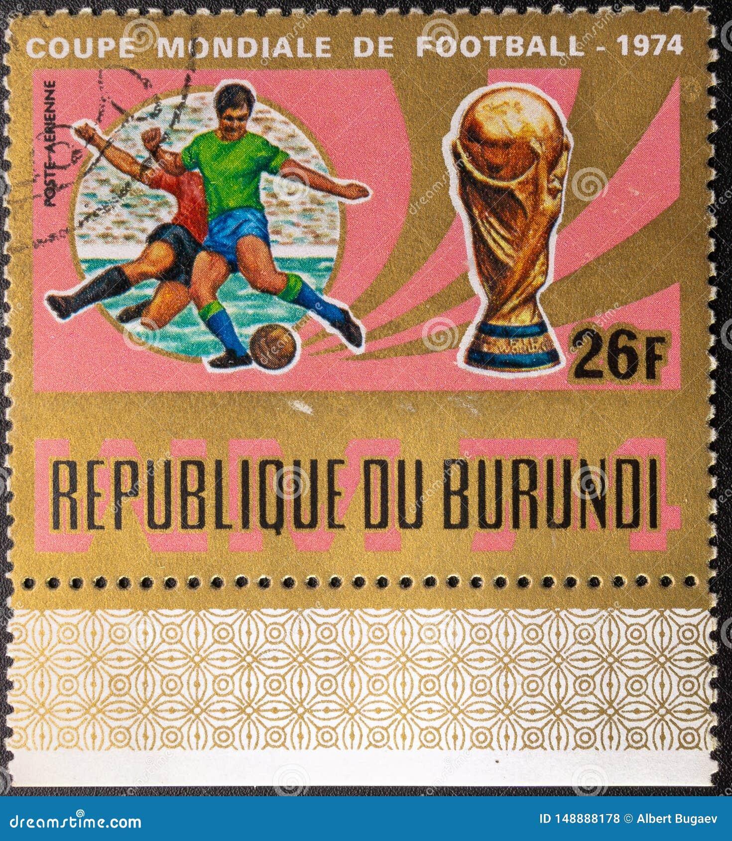 Selo postal 1974 Copo de mundo Futebol Rep?blica do Burundi