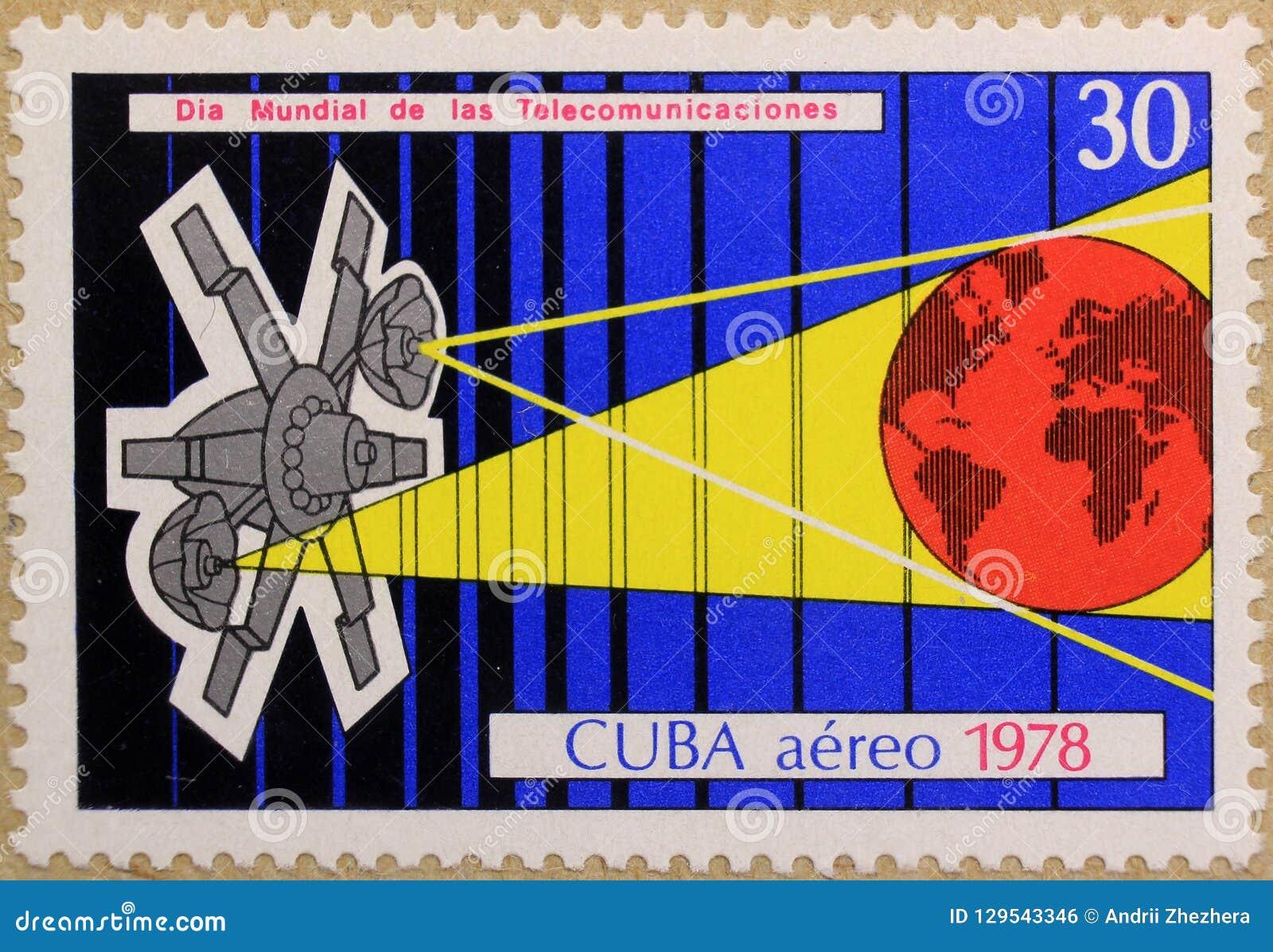 Selo postal de Cuba, dedicado ao dia internacional das telecomunicações
