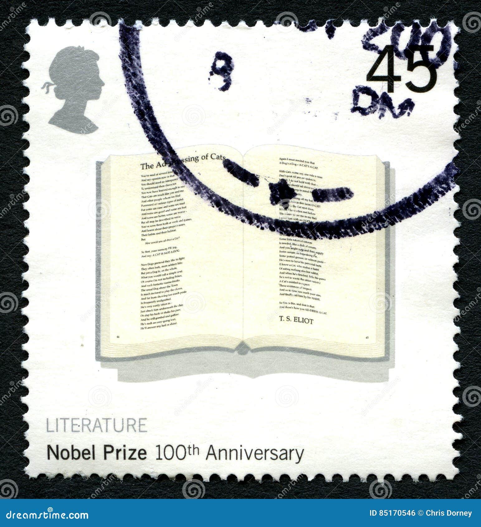 Selo postal do Reino Unido do aniversário do prêmio nobel 100th
