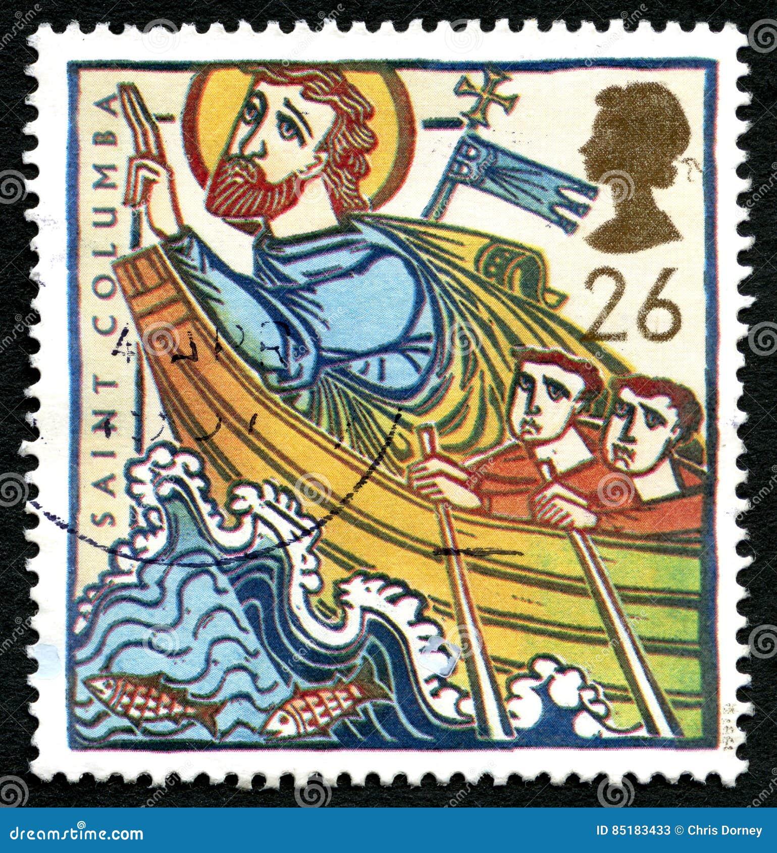 Selo postal do Reino Unido do Columba de Saint
