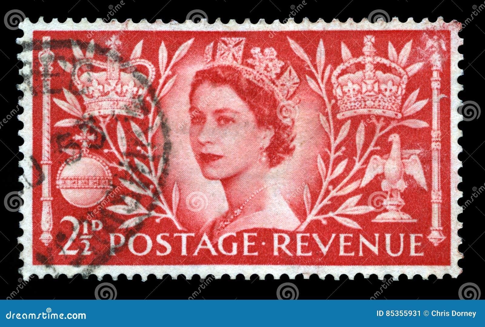 Selo postal do vintage que comemora a coroação do ` s da rainha