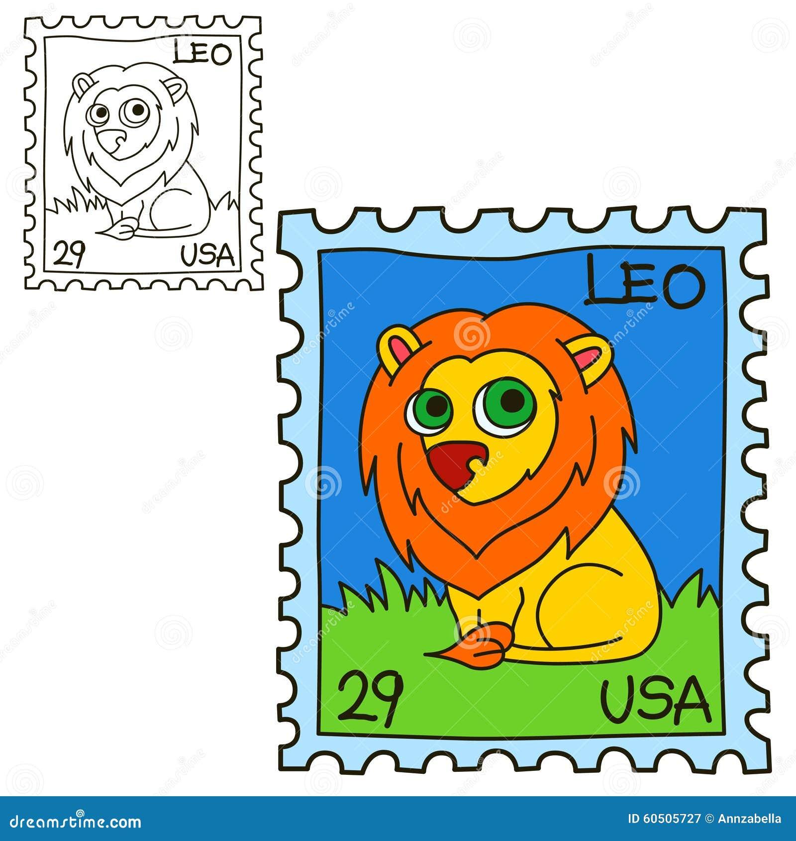 Selo postal Página do livro para colorir