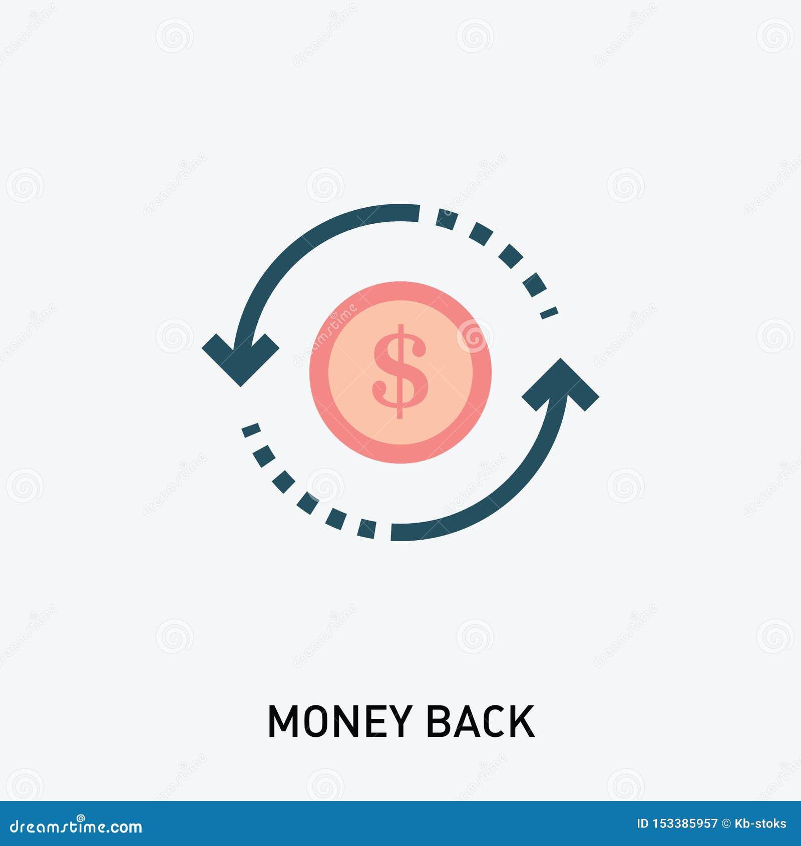 Selo traseiro do vetor do dinheiro Ícone do glyph do retorno sobre o investimento Ilustra??o do vetor no estilo liso moderno