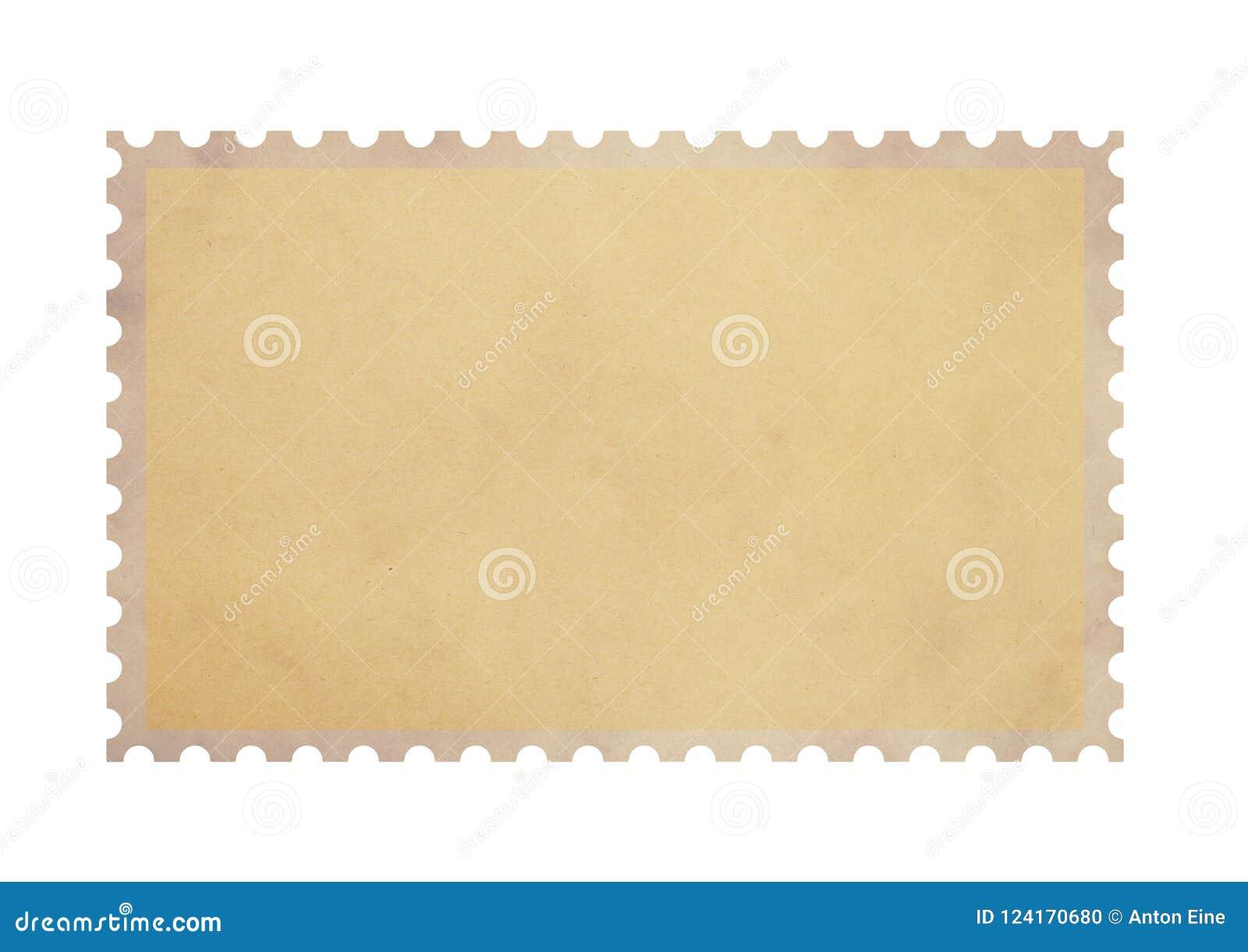 Selo vazio velho do papel de pergaminho do porte postal no branco