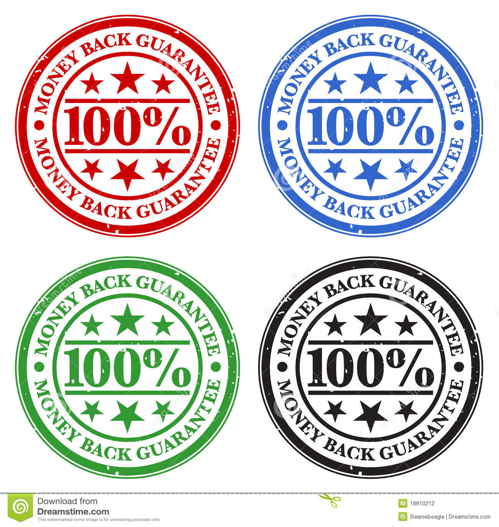 Selos da garantia da parte traseira do dinheiro