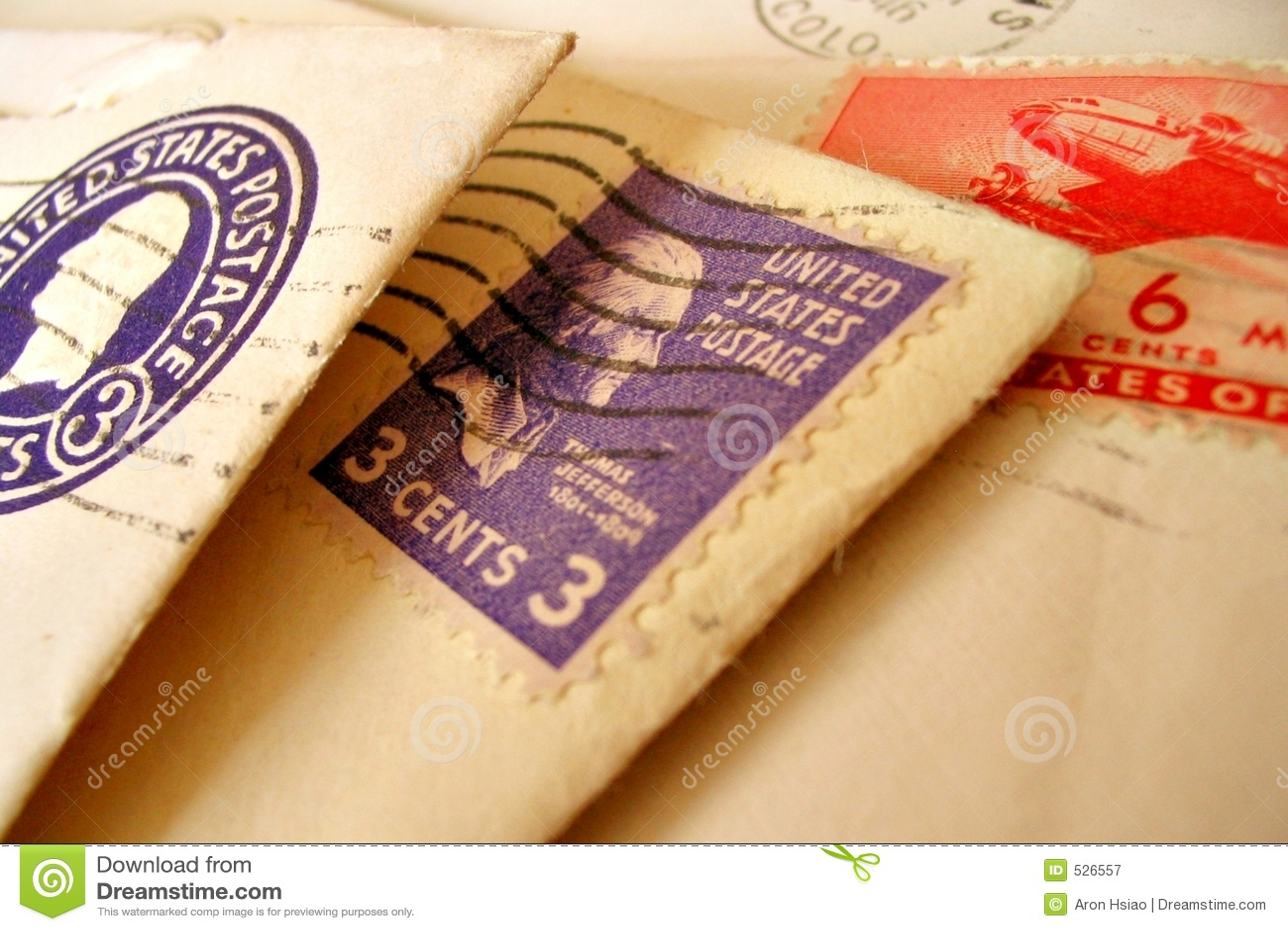 Selos do vintage em envelopes