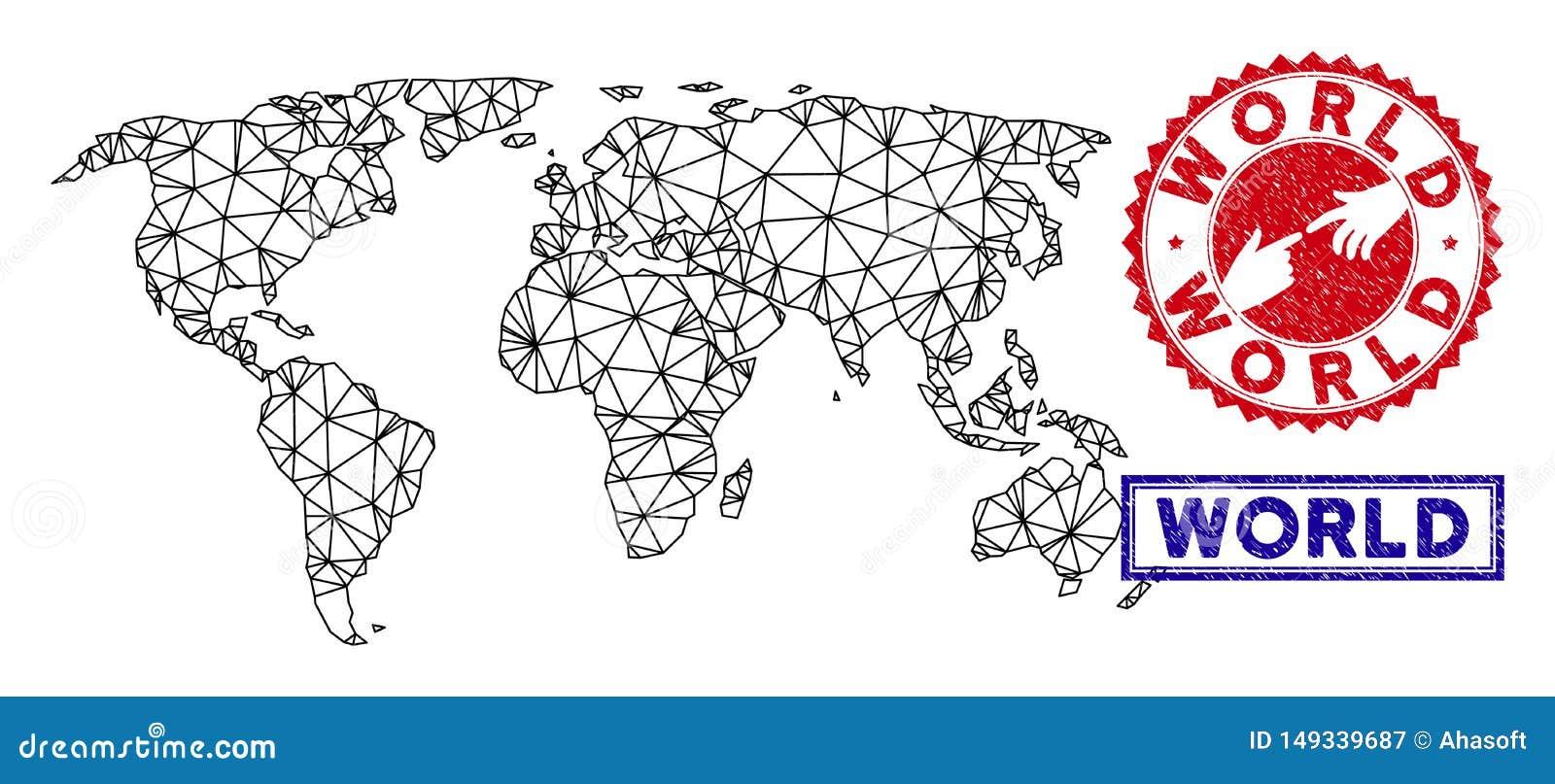 Selos poligonais de Mesh World Map e do Grunge