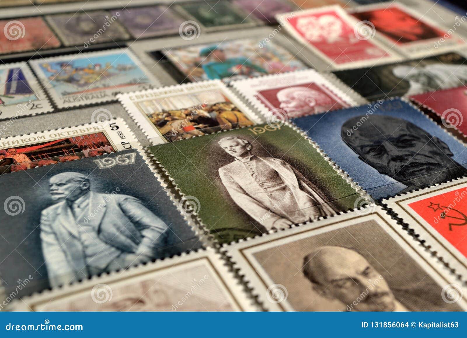 Selos postais com a imagem de Lenin