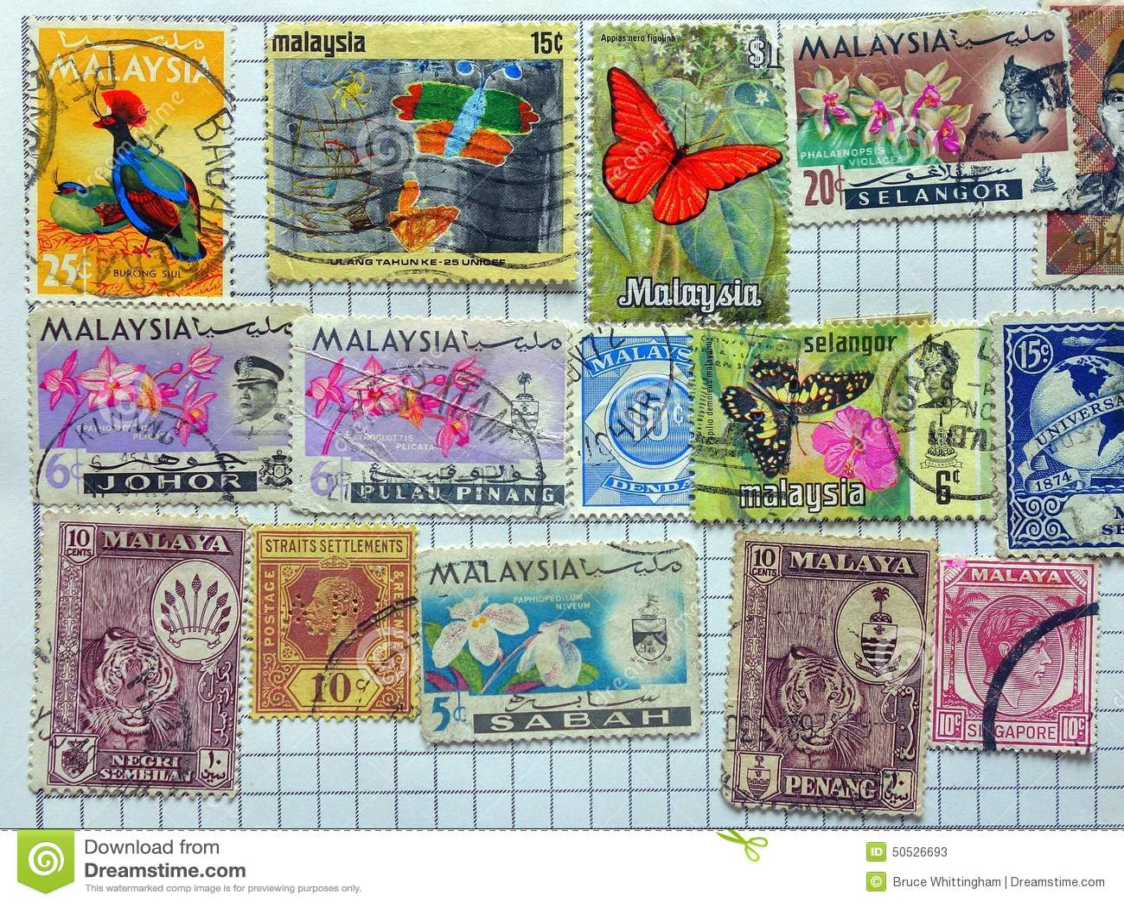 Selos postais Malayan velhos