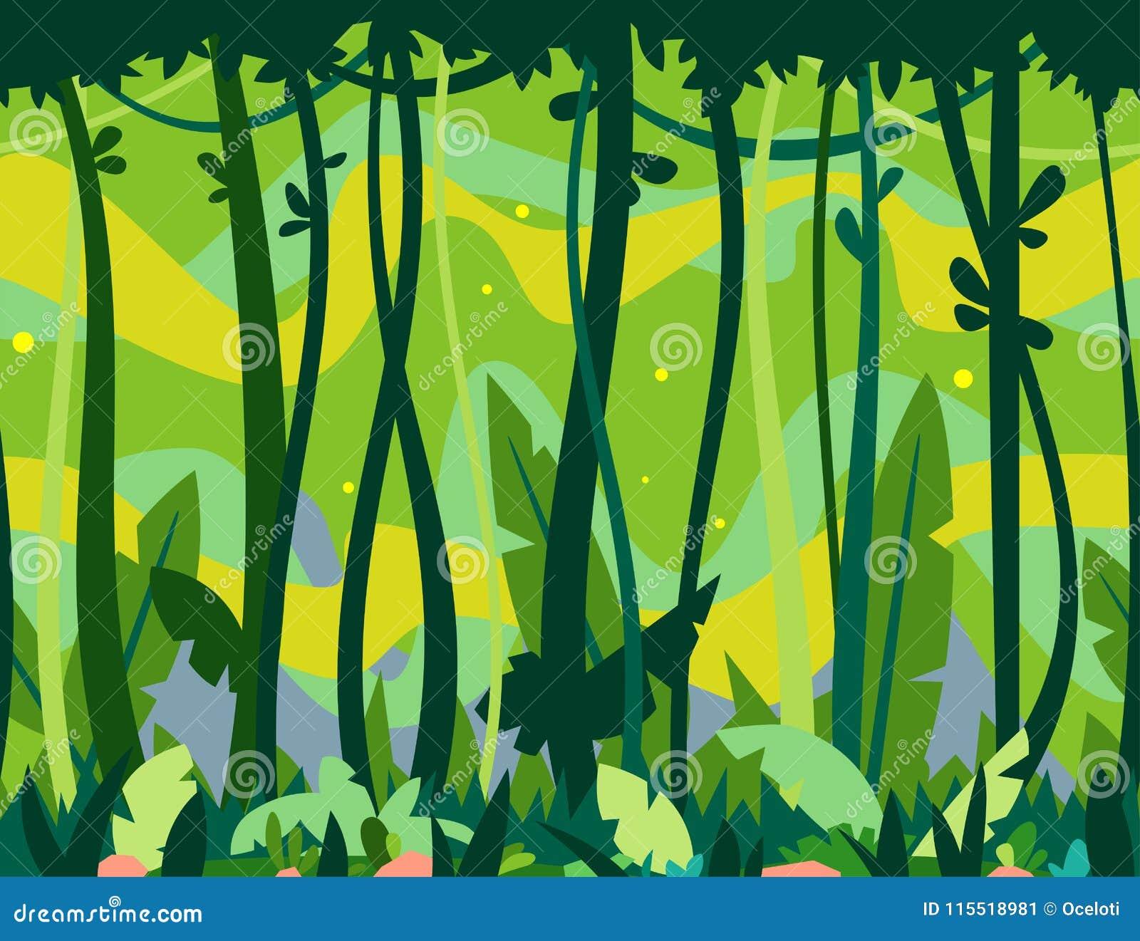 Selva Forest Game Background Ilustración del Vector - Ilustración de ...