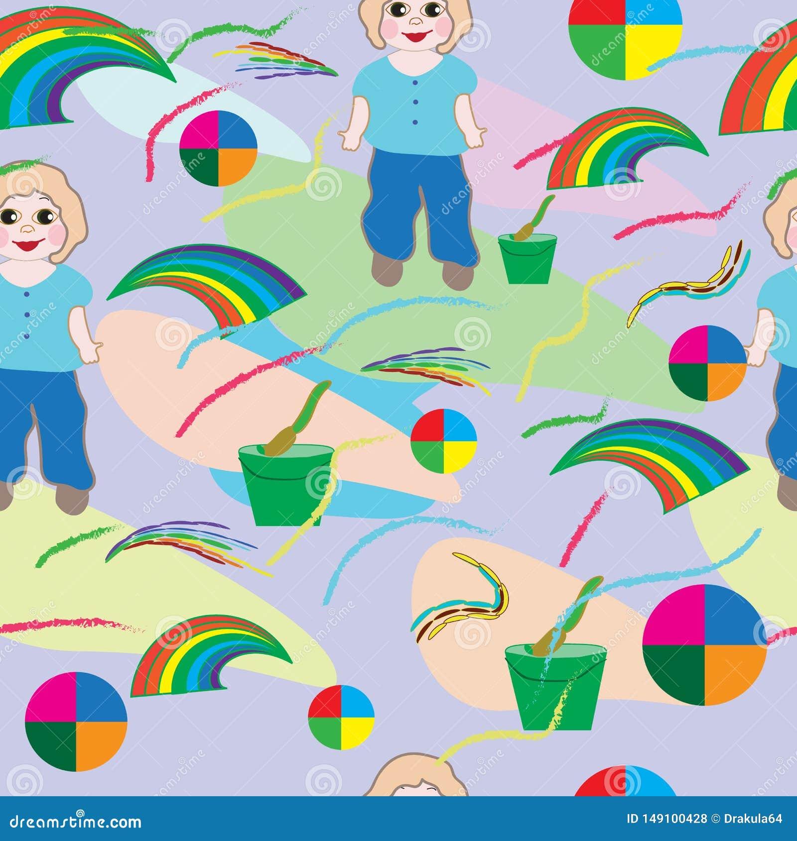 Sem emenda-bebê-fundo-com-bebê, - escova, - arco-íris-e-flores