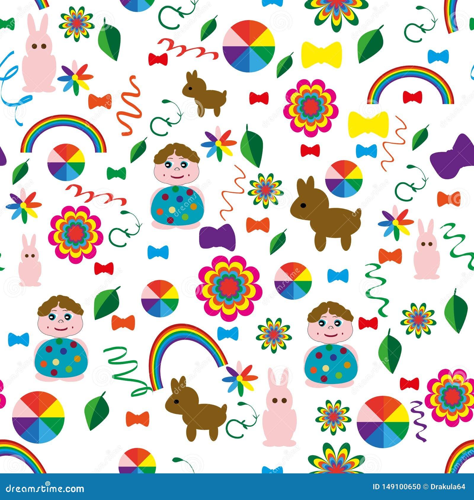 Sem emenda-criança-fundo-com-um-arco-íris-animal-bolas