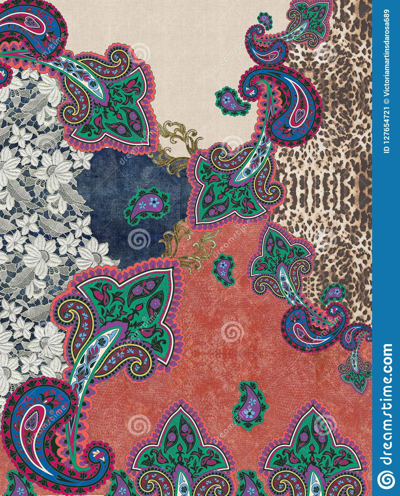 Paisley embroidery colors texture design