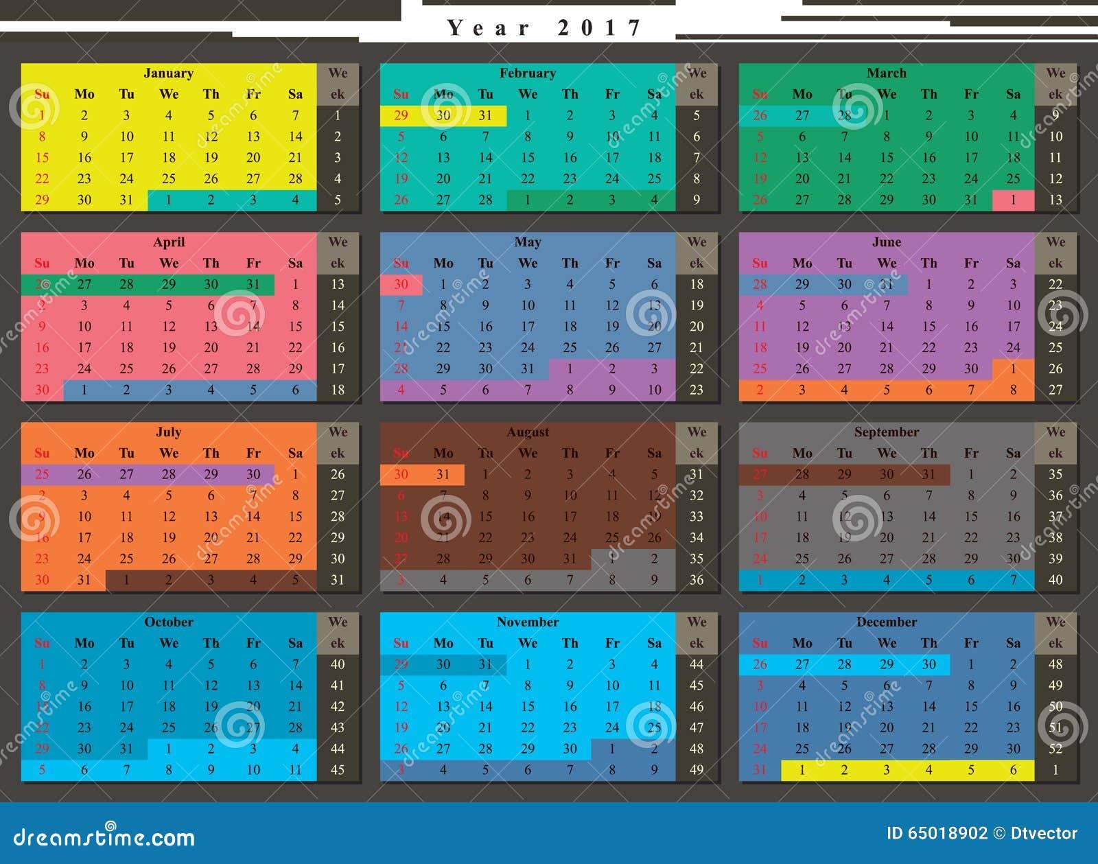 semaine de l 39 ann e civile 2017 illustration de vecteur image 65018902. Black Bedroom Furniture Sets. Home Design Ideas