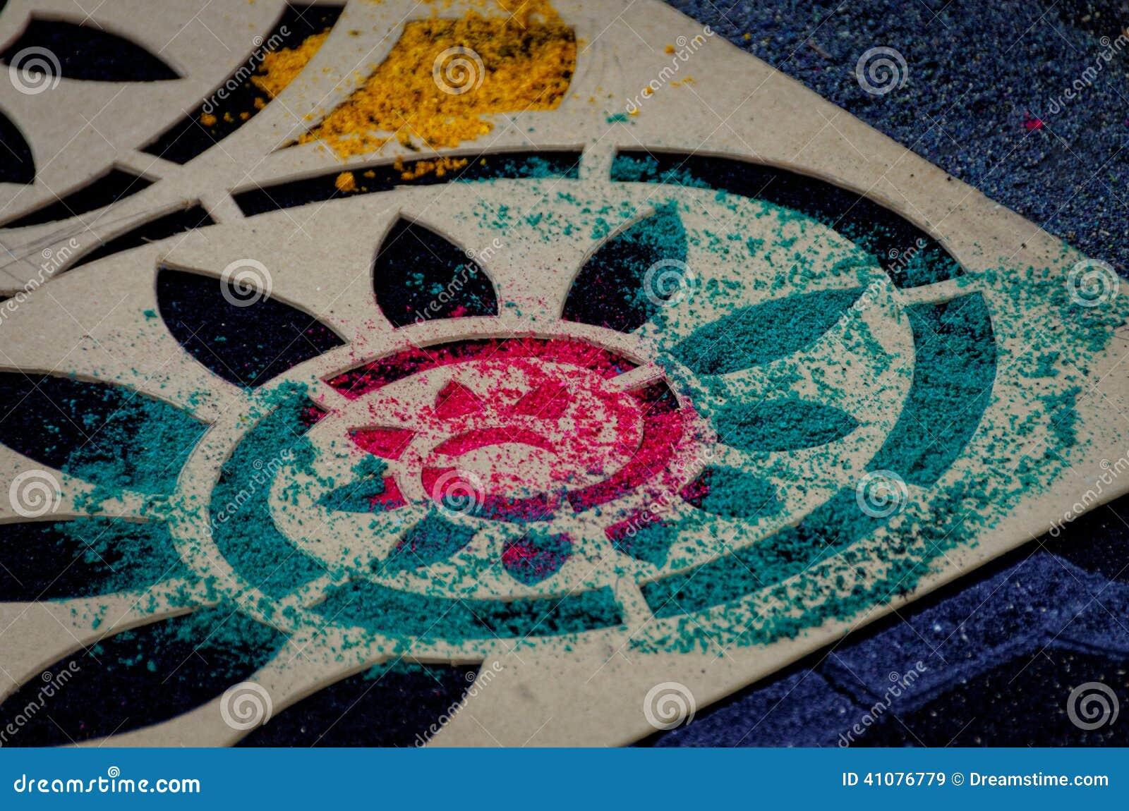Semana santa carpet stencil ii foto de archivo imagen for Alfombras usadas