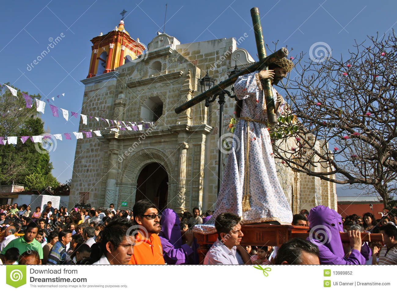 Good Friday procession in a neighborhood of Oaxaca, Mexico. During ...