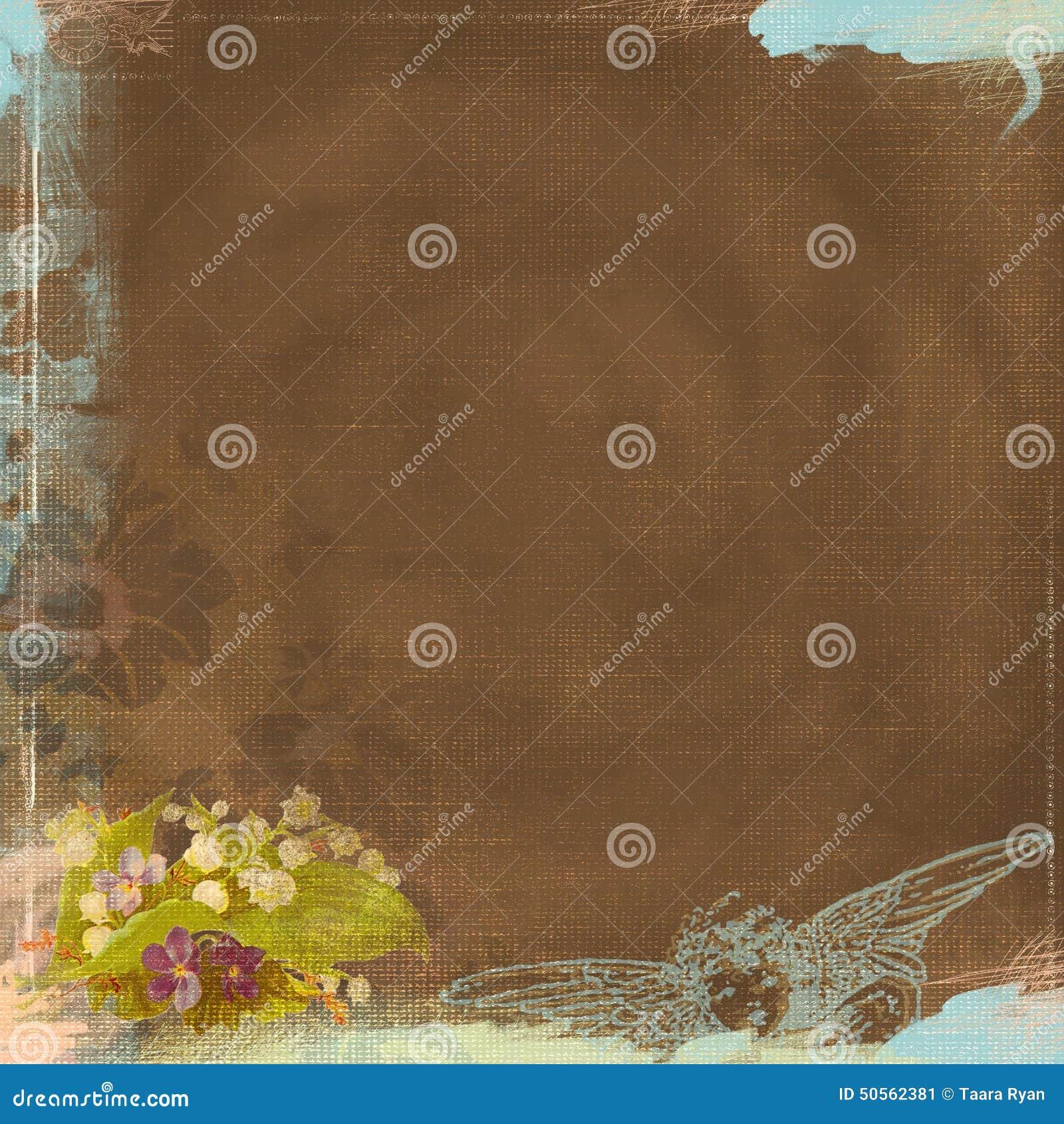 Sembler porté par fond grunge brun chocolat et Angel Bohemian Art Deco