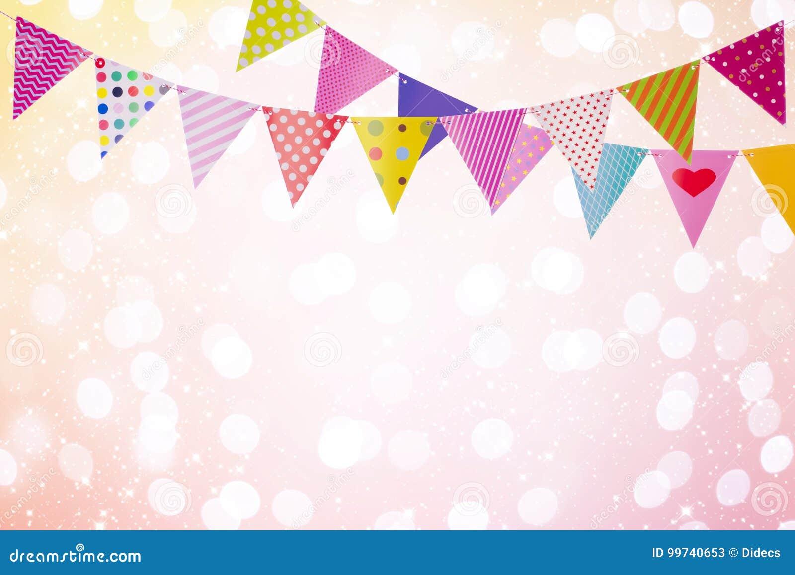 Semestra bakgrund med färgrika flaggor över abstrakta ljus och glöder