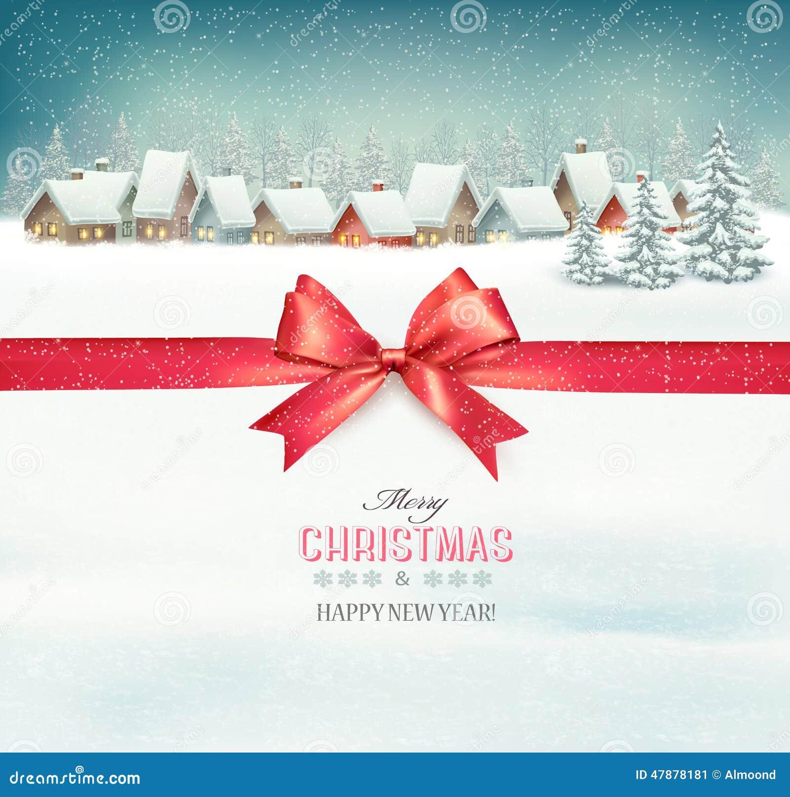 Semestra julbakgrund med en by och en röd pilbåge