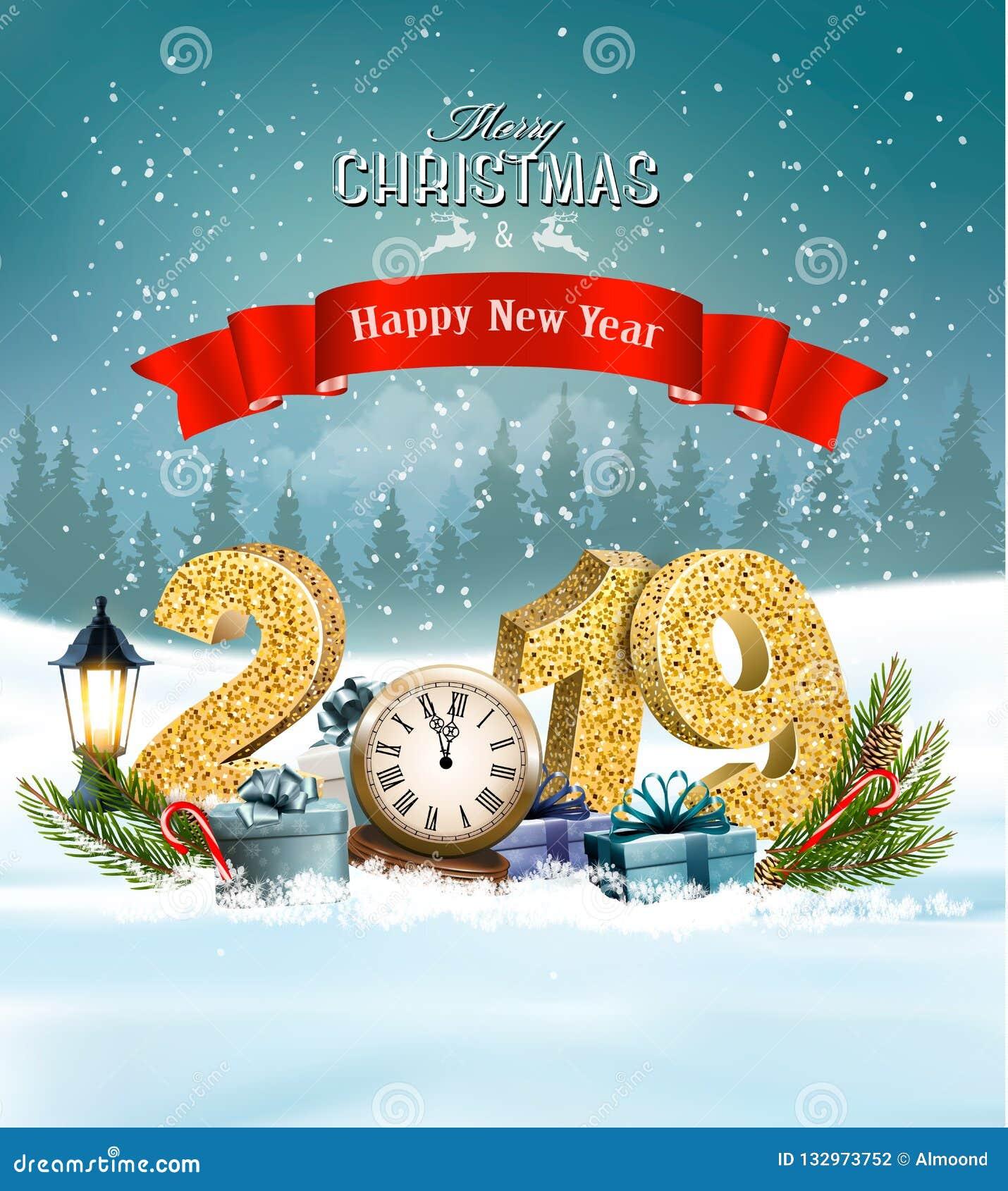 Semestra julbakgrund med 2019 och gåvor