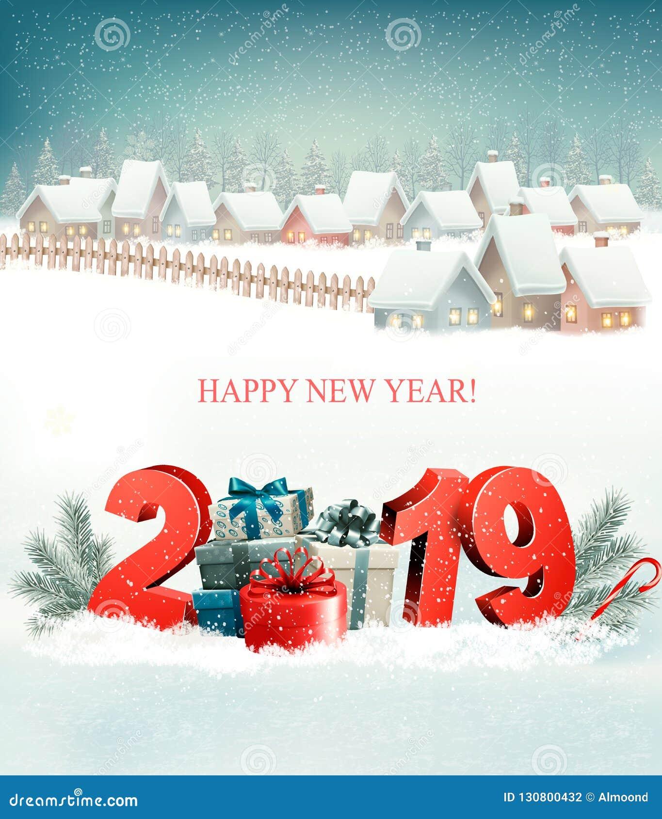 Semestra julbakgrund med 2019 och vinterbyn