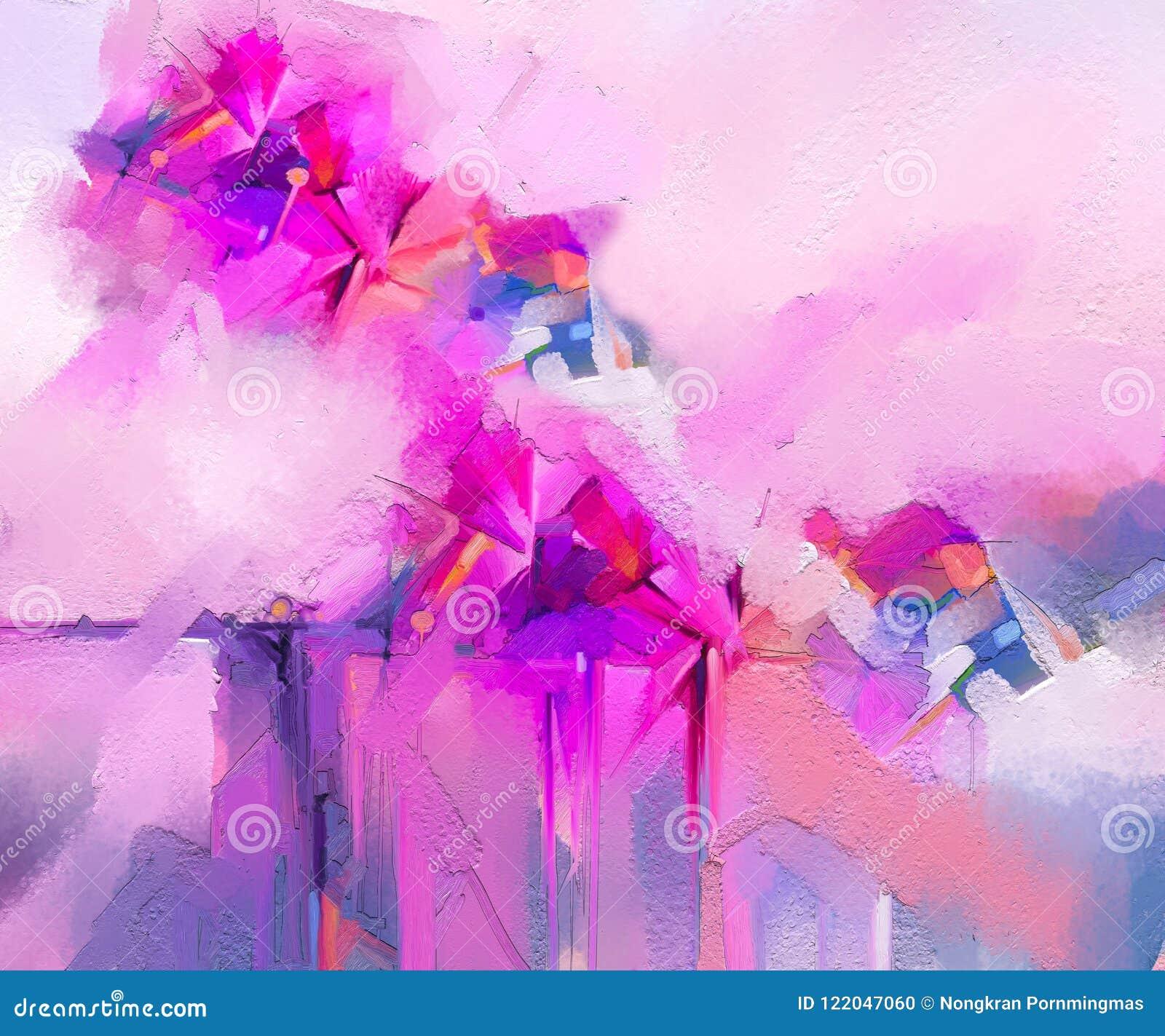 Semi abstract beeld van bloemen, in gele roze en rood met blauwe kleur Moderne kunstolieverfschilderijen voor achtergrond