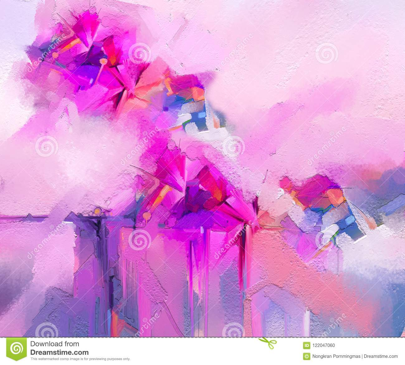 Semi- abstract image of flowers, in yellow pink and red with blue color. Modern art oil paintings for background