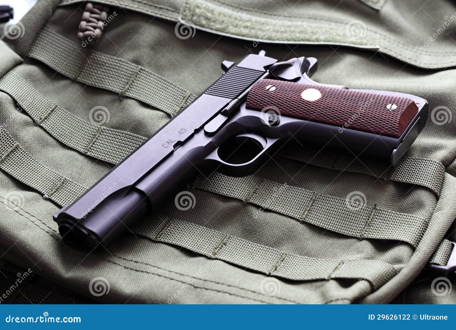 semi automatic 45 caliber pistol stock photo image of pistol semi 29626122. Black Bedroom Furniture Sets. Home Design Ideas
